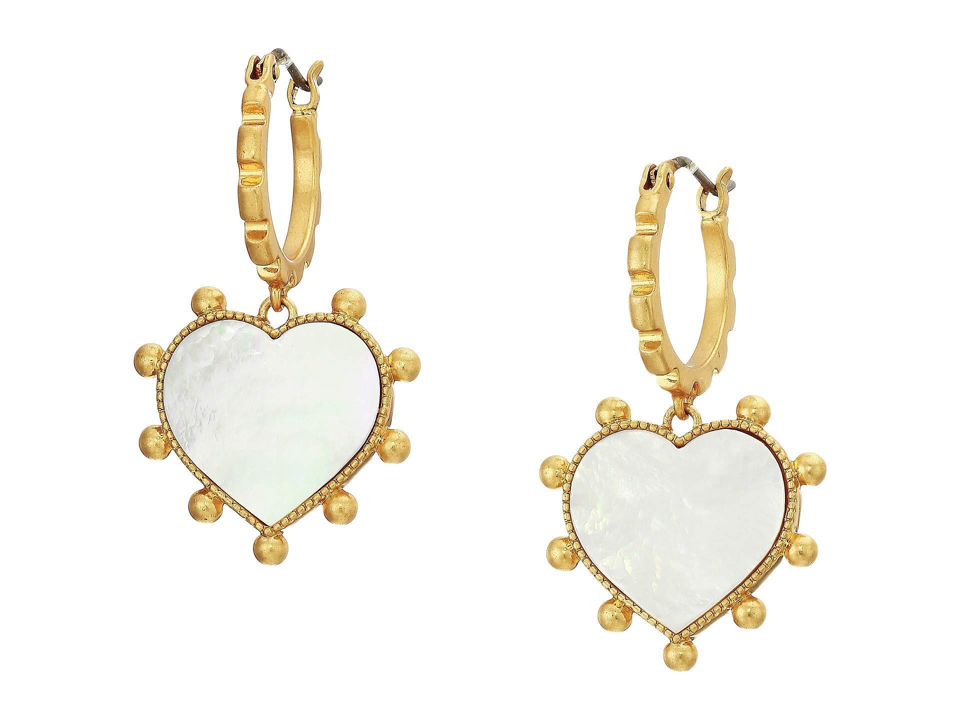 51233cf84 Tory Burch Semi-precious Heart Charm Earrings (vintage Gold/lapis ...