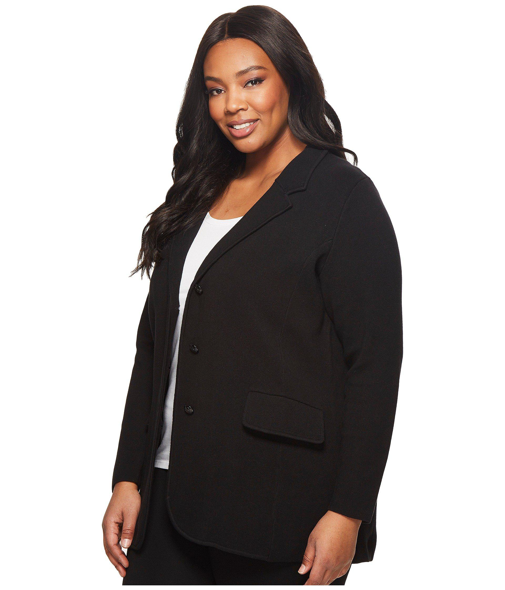 8aede59bdbf Lauren by Ralph Lauren Plus Size Knit Sweater Blazer (black) Women s Jacket  in Black - Lyst