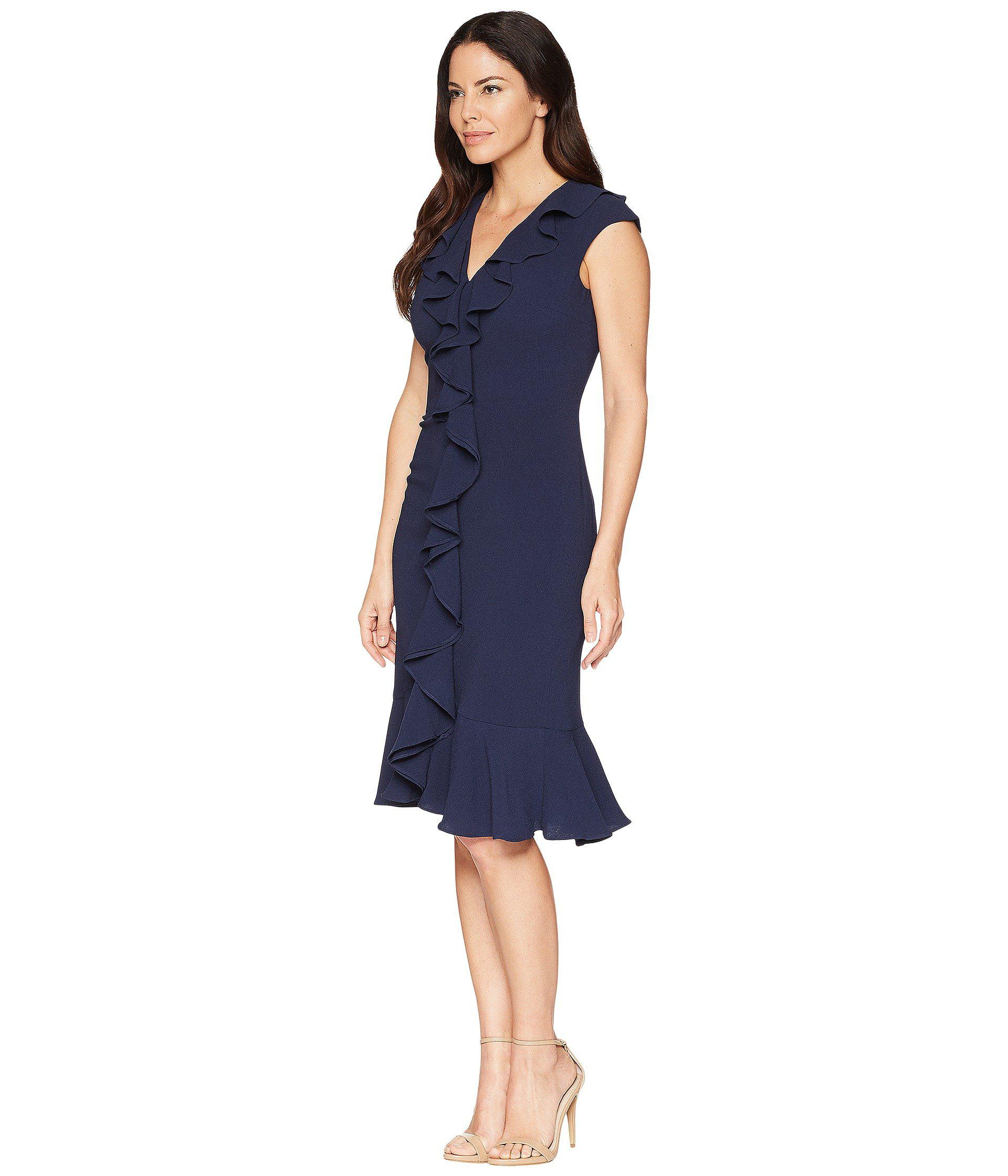 fb2267951da Lyst - Maggy London 30s Crepe Cascade Ruffle Front Dress (navy) Women s  Dress in Blue