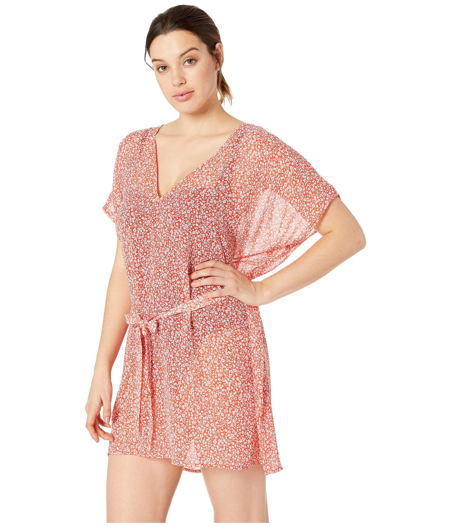8c0db8b1dc Lyst - MICHAEL Michael Kors Shadow Floral Belted V-neck Caftan Cover-up  (black) Women s Swimwear in Pink