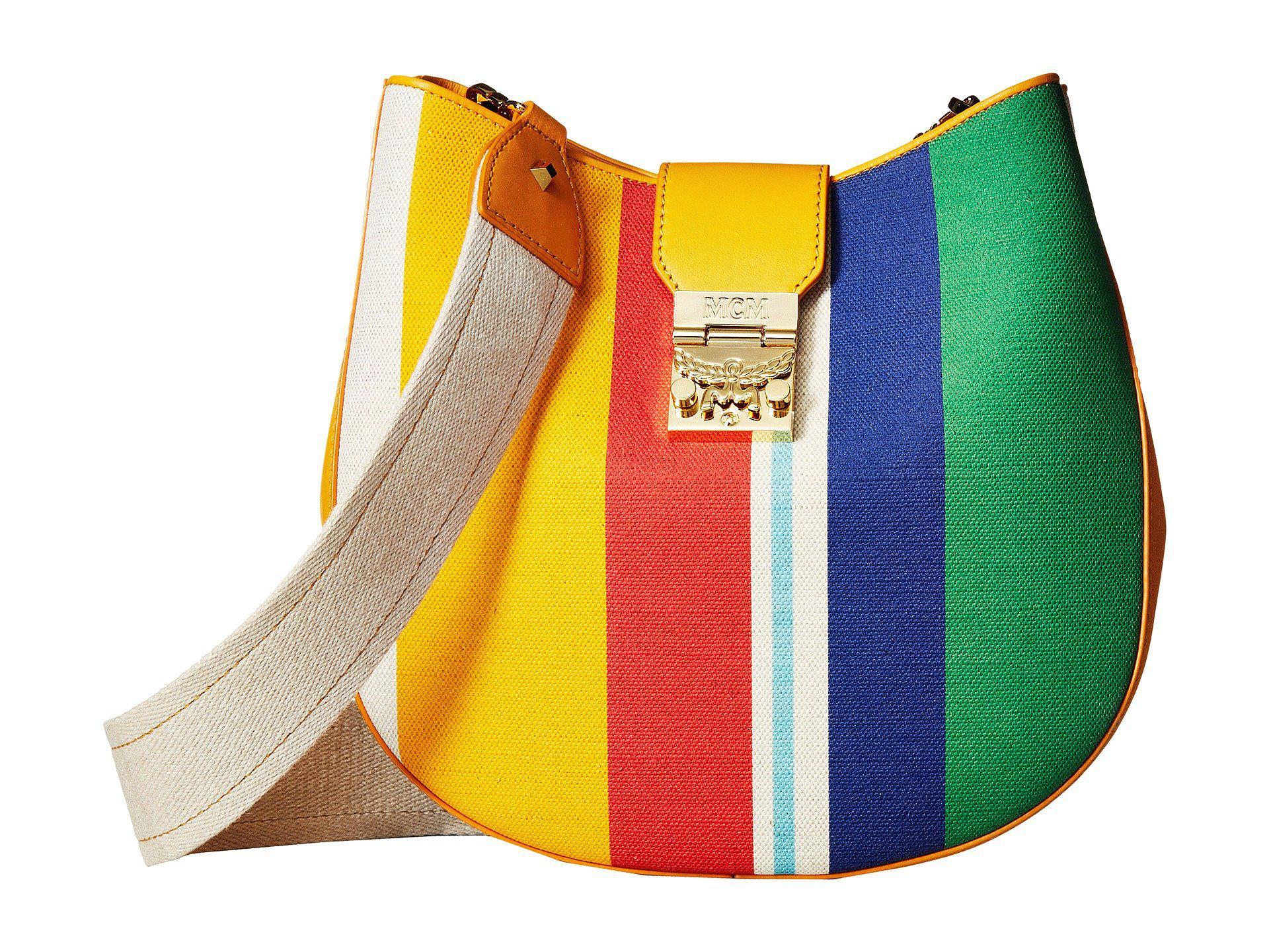 Patricia Rainbow Medium Hobo Bag in Rainbow Yellow Canvas MCM 4fBD71N