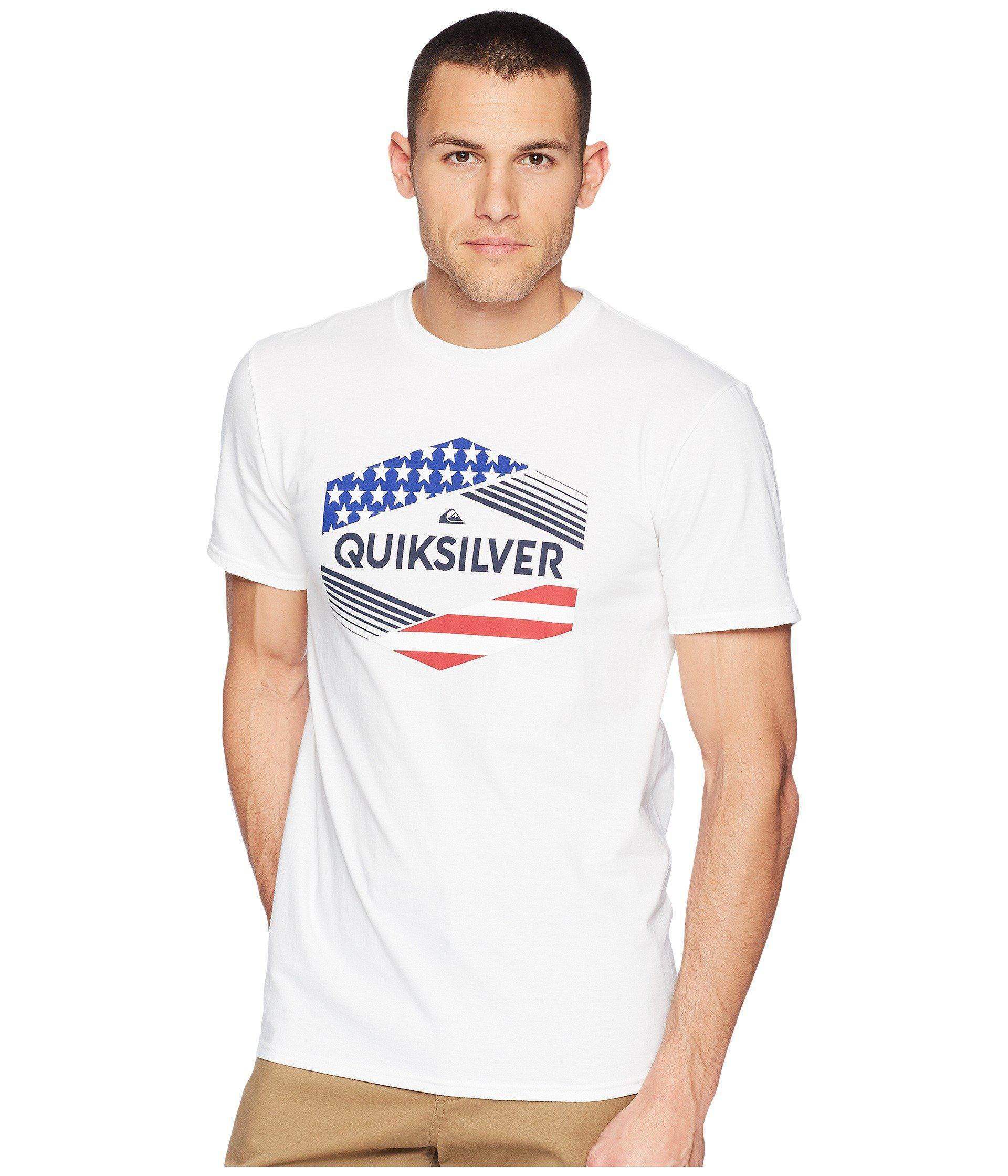 White Quiksilver Mens Stars /& Stripes T-Shirt