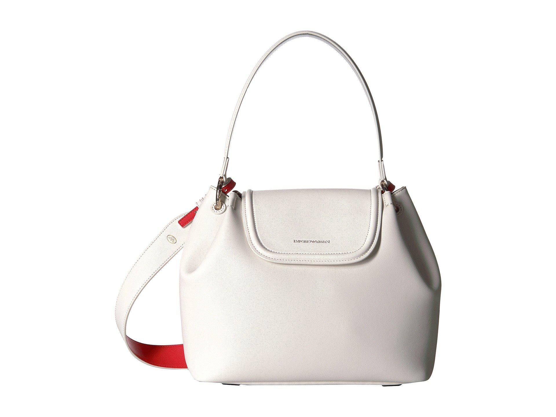 da4cb0d2a24 Lyst - Emporio Armani Eco Leather Shoulder Bag in White