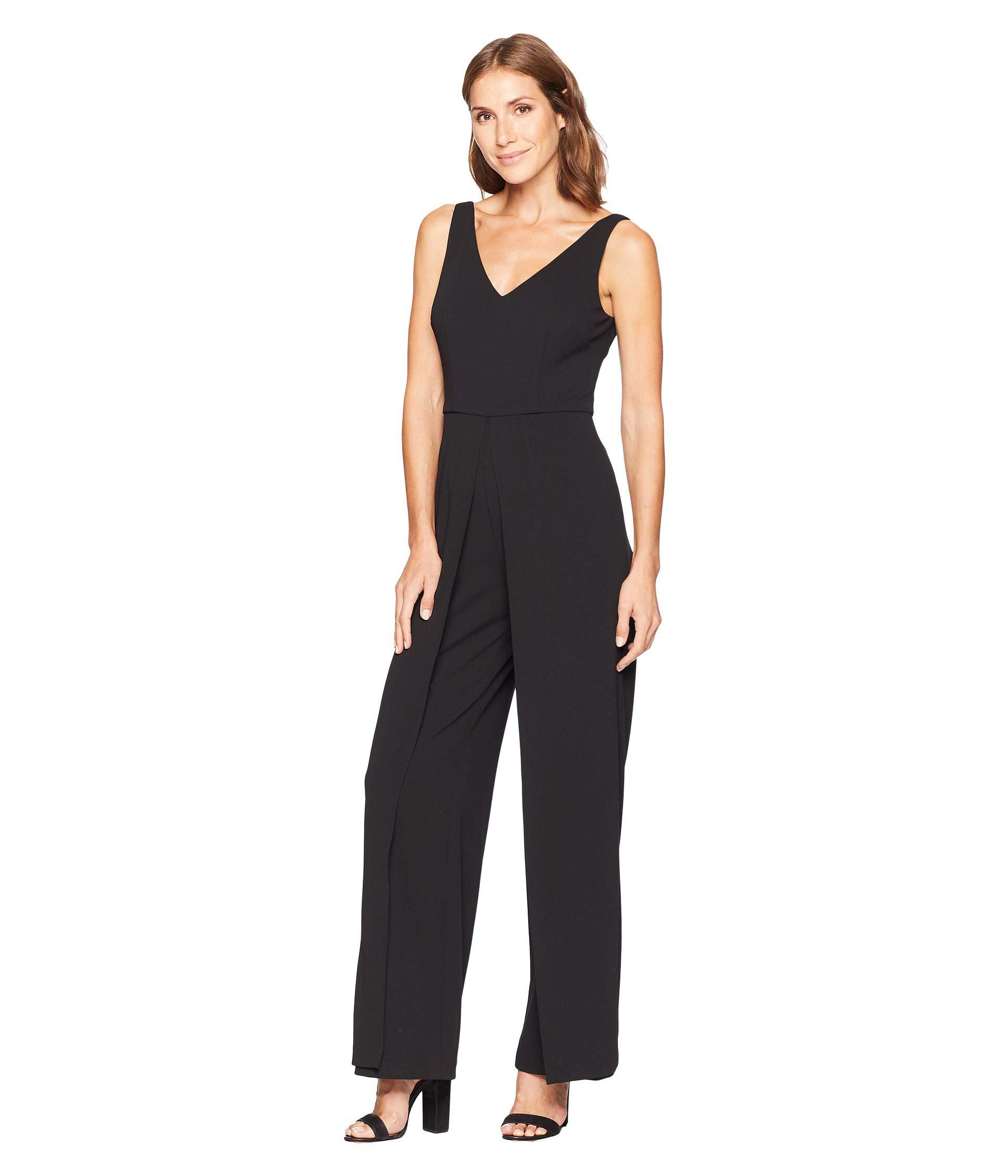 8782074f7588 Lyst - Adrianna Papell Knit Crepe V-neck Jumpsuit (black) Women s Jumpsuit    Rompers One Piece in Black