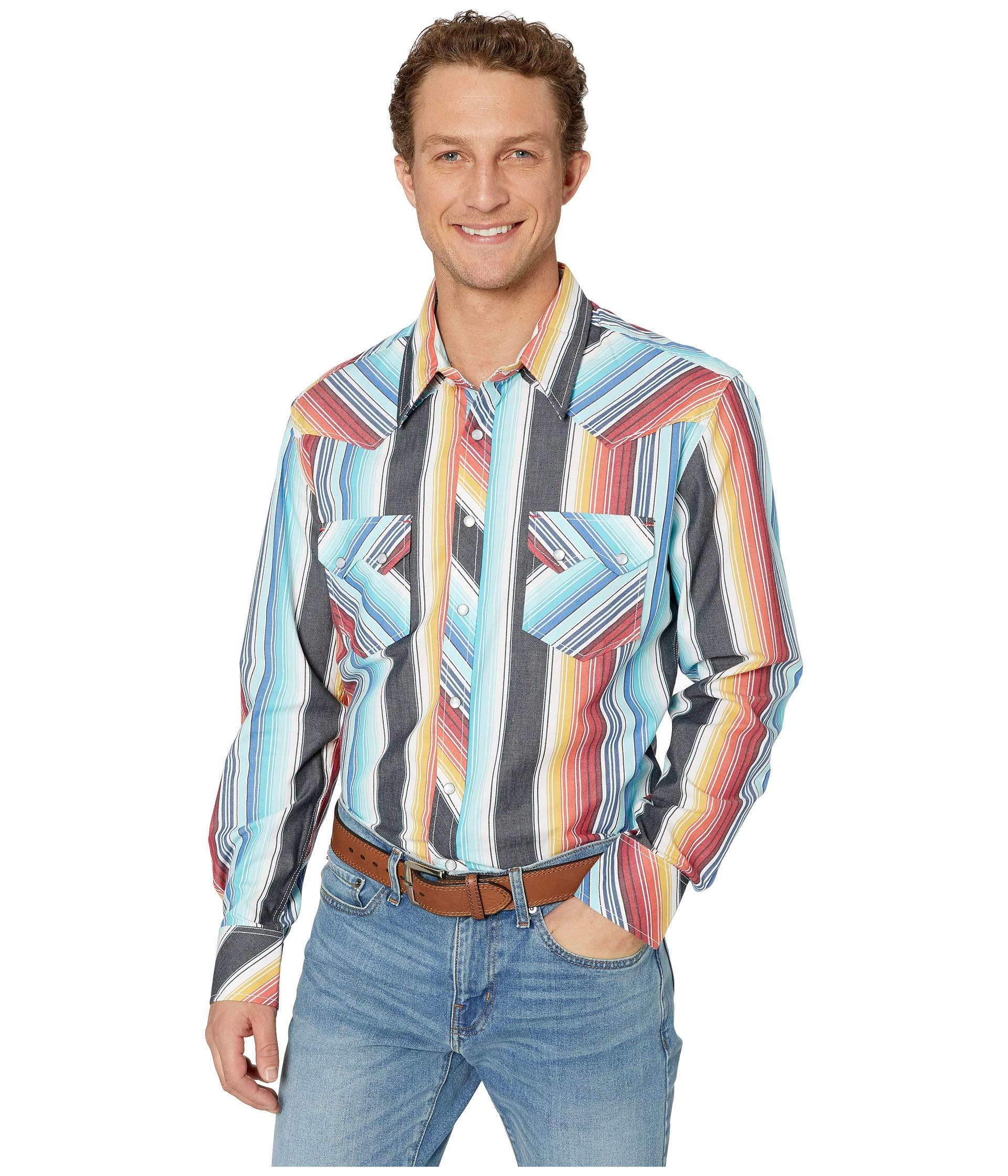 15e716d31b657 Rock And Roll Cowboy. Long Sleeve Stripe Snap B2s9105 (orange) Men s  Clothing