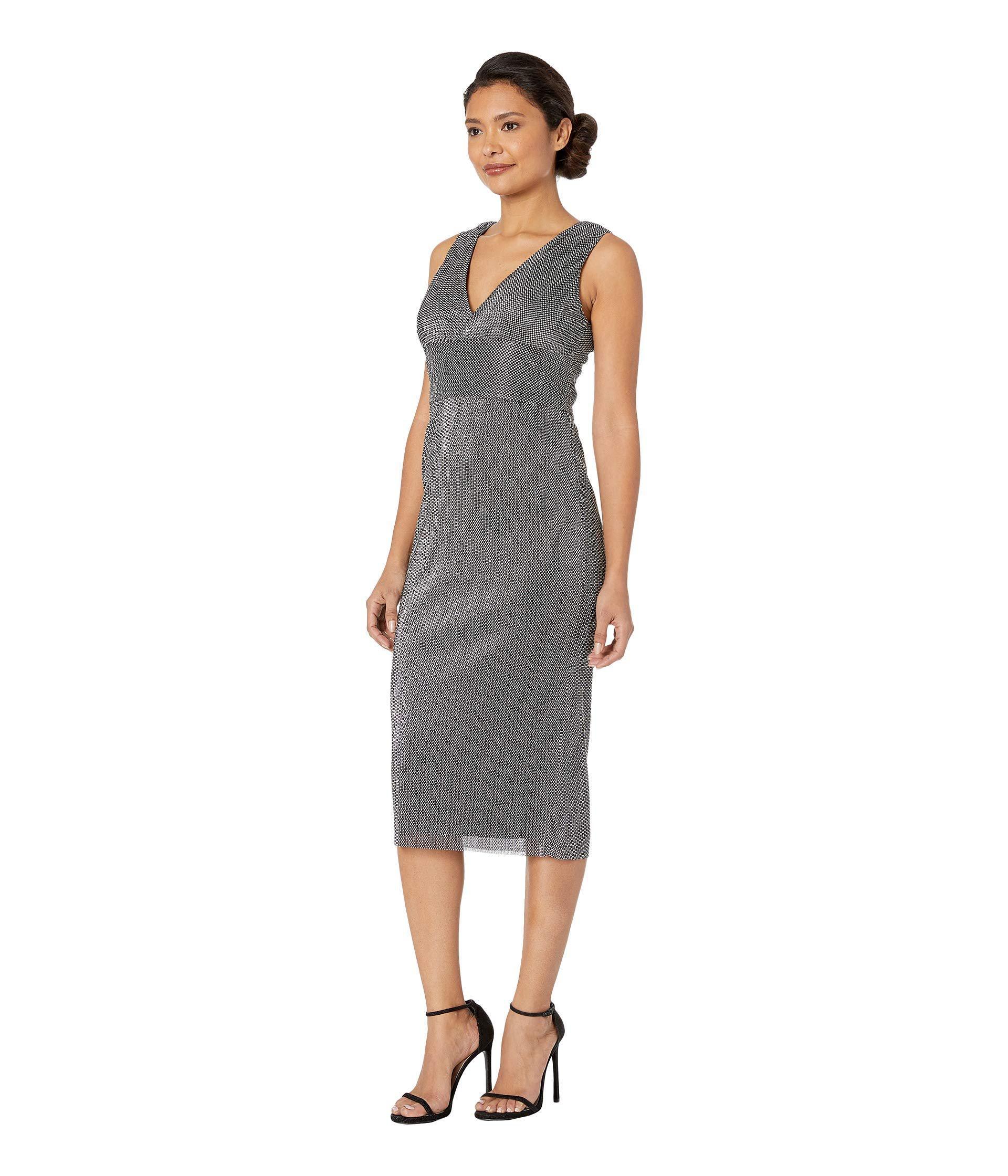 a3d2bc1179b Lyst - Adrianna Papell Sleeveless V-neckline Metallic Chain Mail Knit Midi  Dress (black) Women s Dress in Black