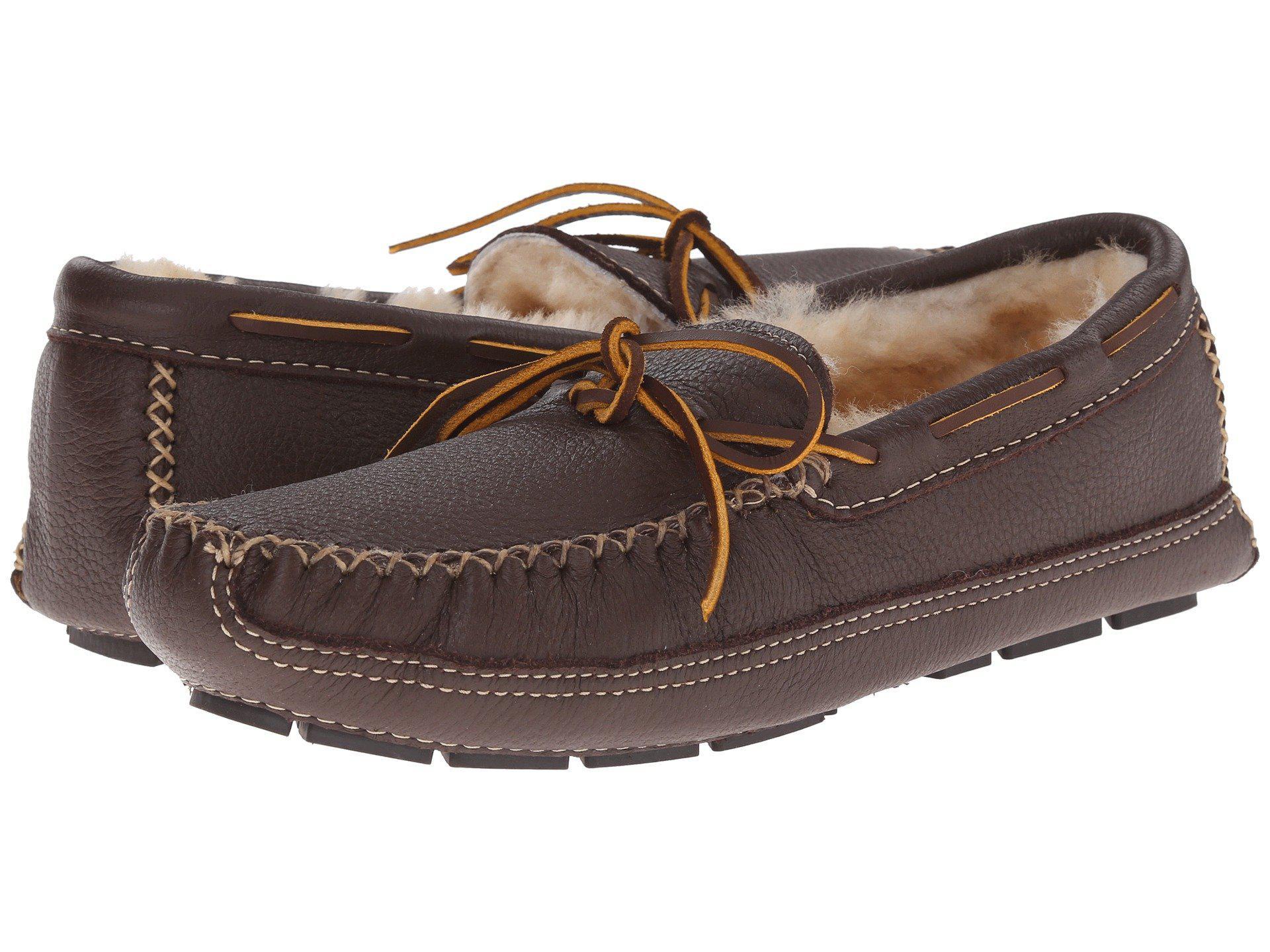 d8ca3c4d1613bb Minnetonka. Brown Sheepskin Lined Moose Slipper (chocolate Moose) Men s  Moccasin Shoes