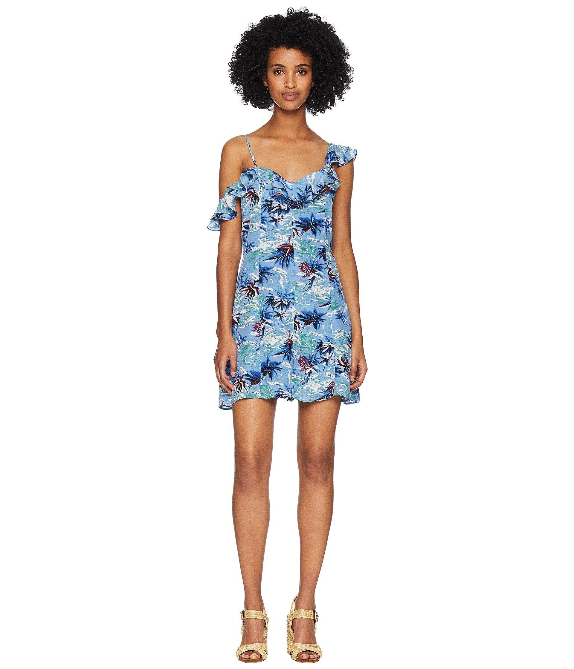 74e2705f26d Lyst - The Kooples Open Shoulder Overall In Hawaii Print China Crepe ...