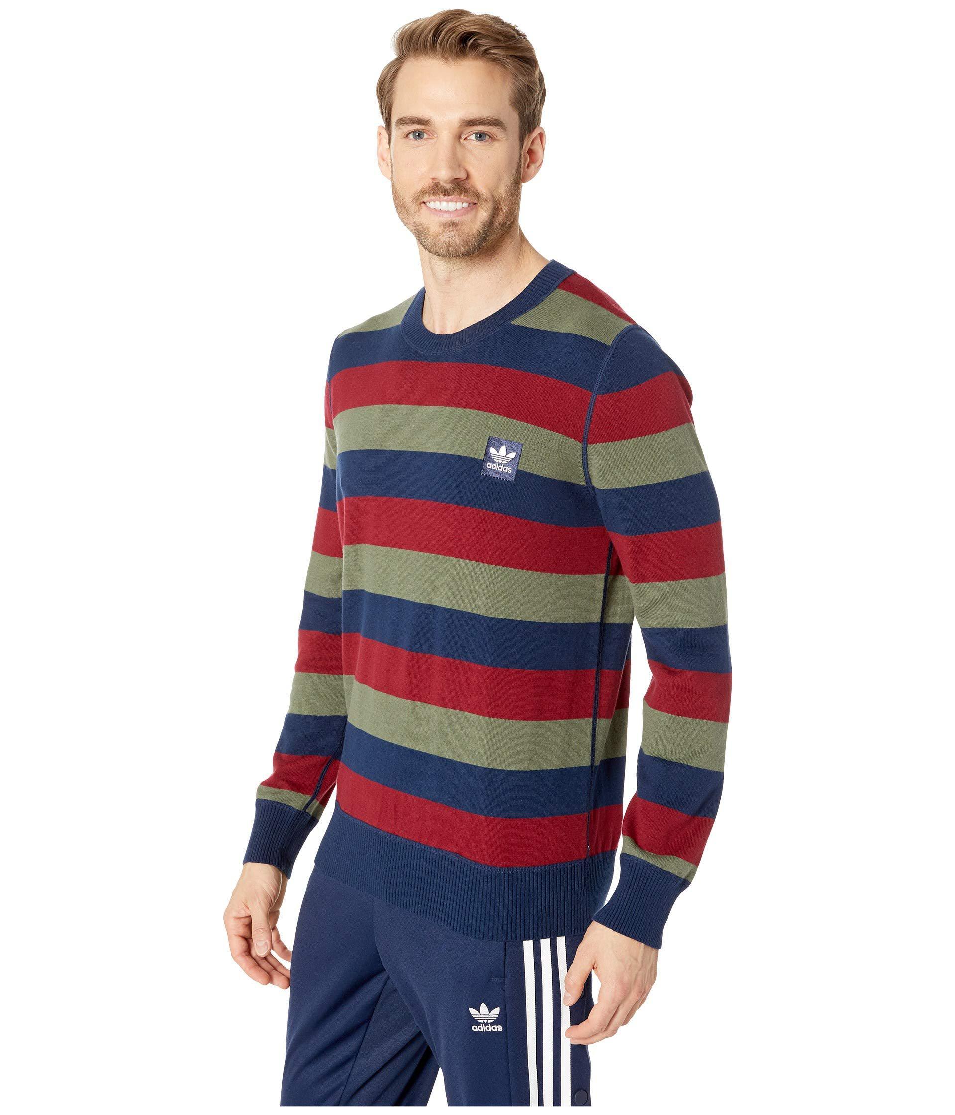 77851c0bd66a Lyst - adidas Originals Striped Sweater (collegiate Navy collegiate  Burgundy base Green) Men s Long Sleeve Pullover in Blue for Men