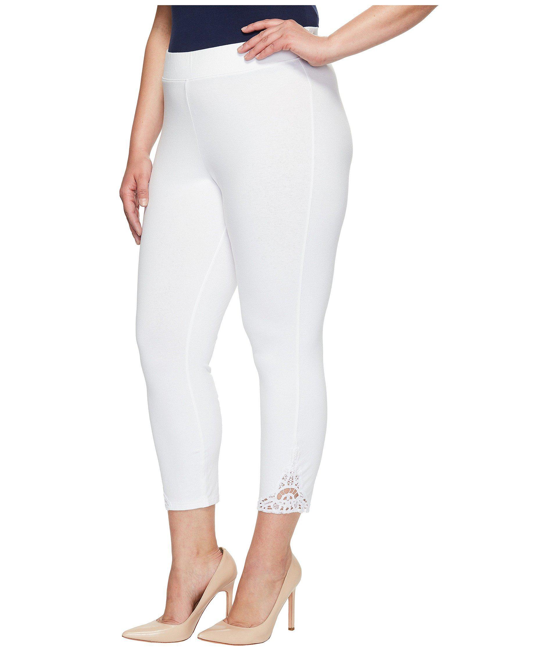 1a38149893adb0 Hue Plus Size Wide Waistband Lace Trim Pique Capris in White - Lyst