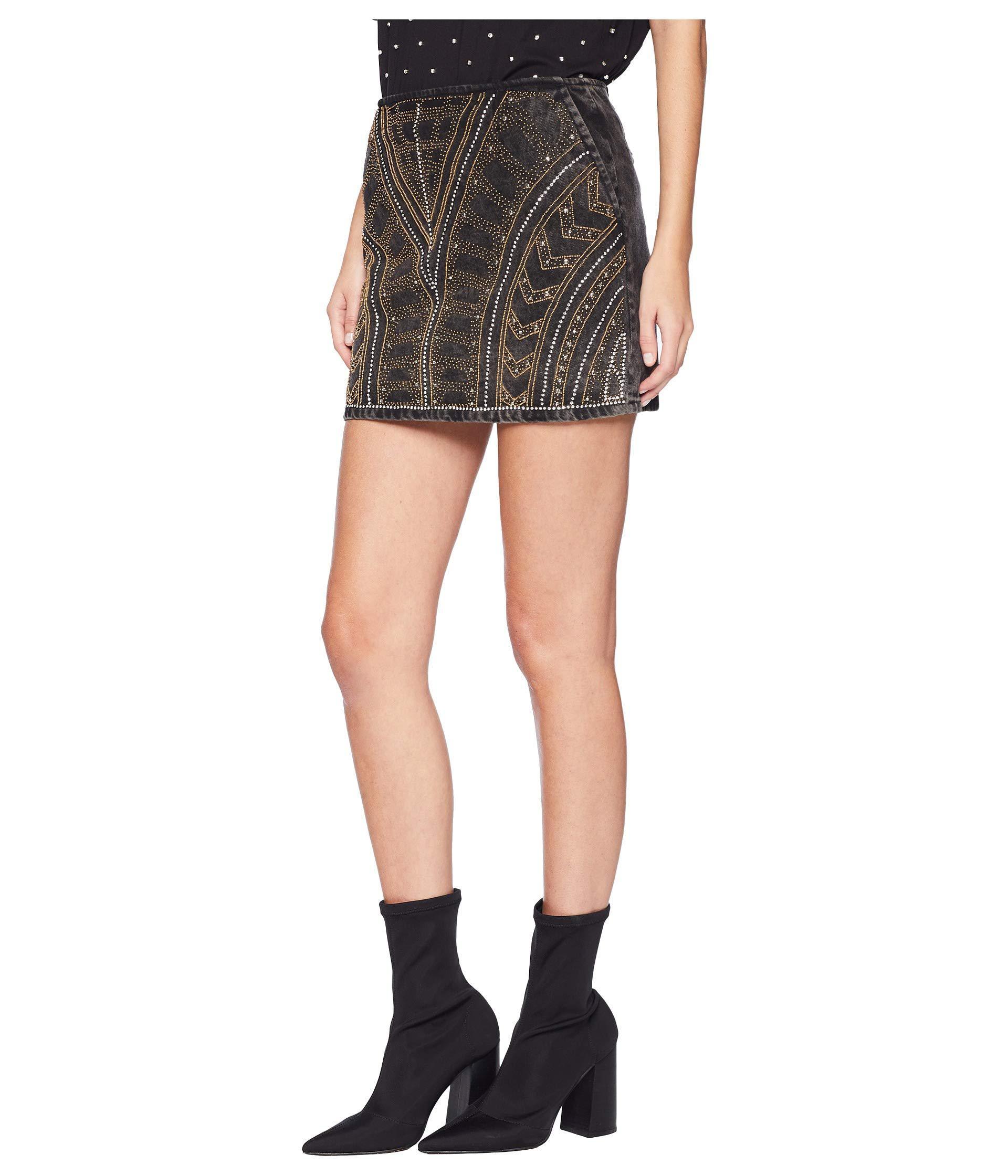 Lyst - The Kooples Embroidered Denim Skirt (black) Women s Skirt in Black f82f470f8d