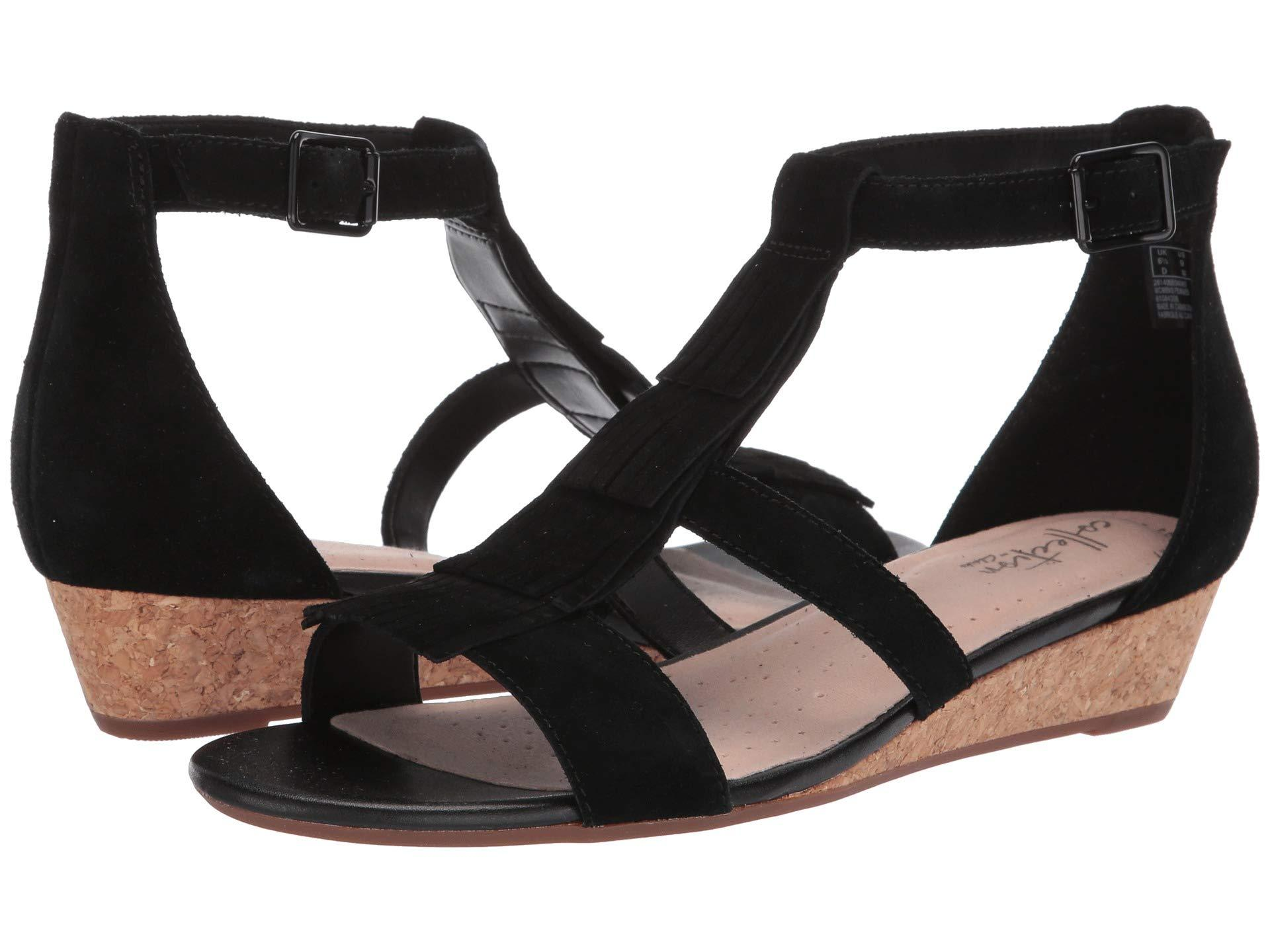 c5ef11449d5 Lyst - Clarks Abigail Sun (black Suede) Women s Wedge Shoes in Black