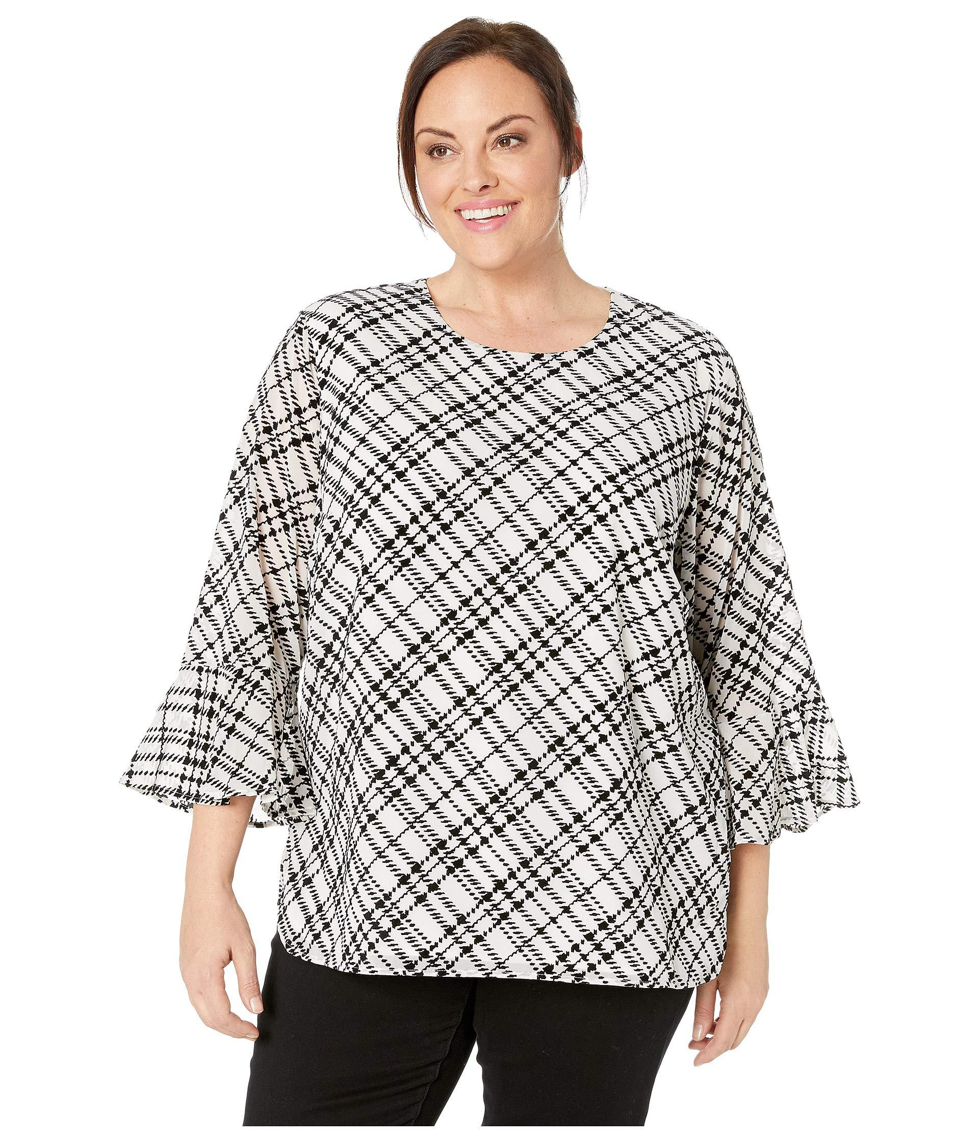 Lyst Calvin Klein Plus Size Plaid Flocked Flare Sleeve Top Soft