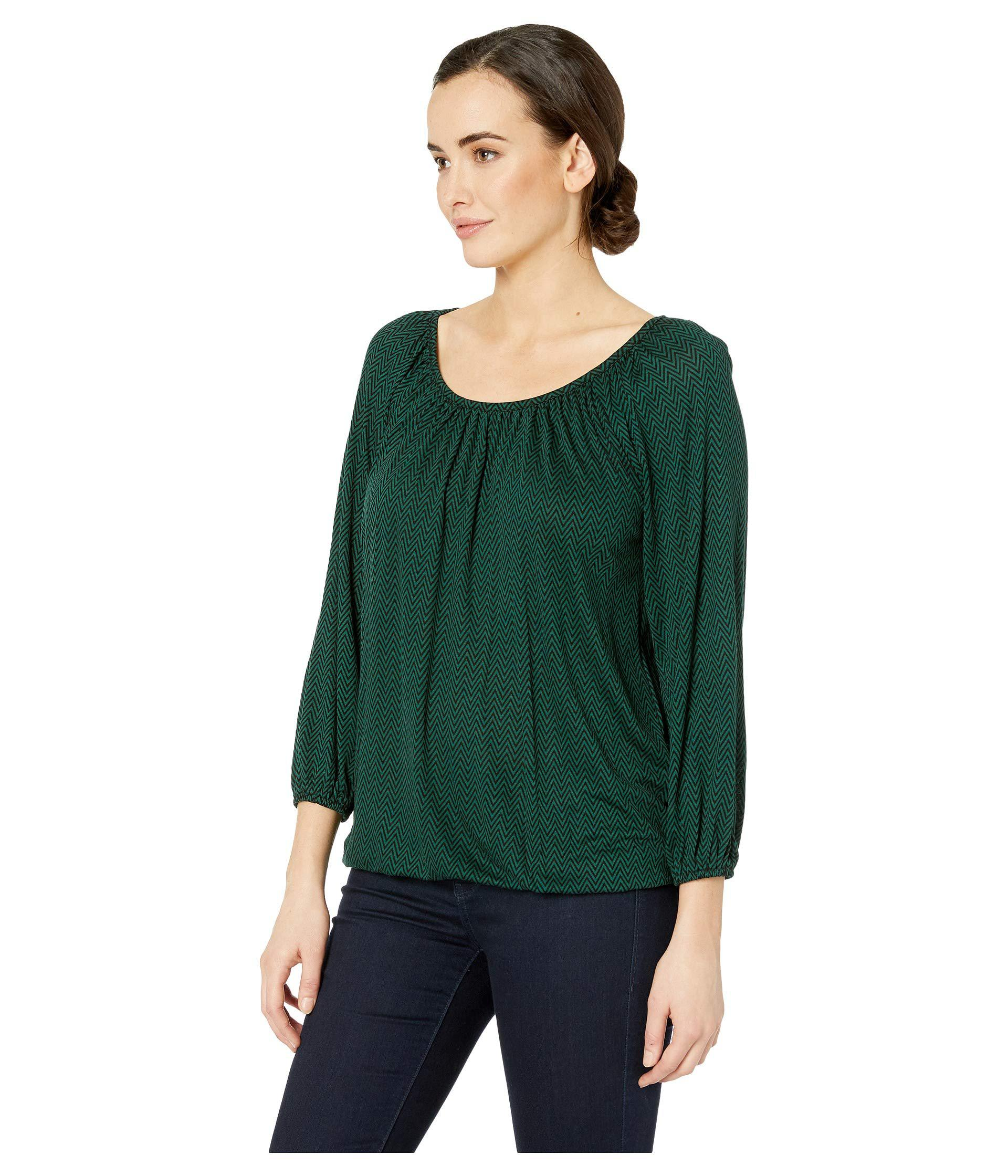 5bfcce38798 Lyst - MICHAEL Michael Kors Bicolor Chevron Peasant Top (black dark Emerald)  Women s Clothing in Green - Save 38%