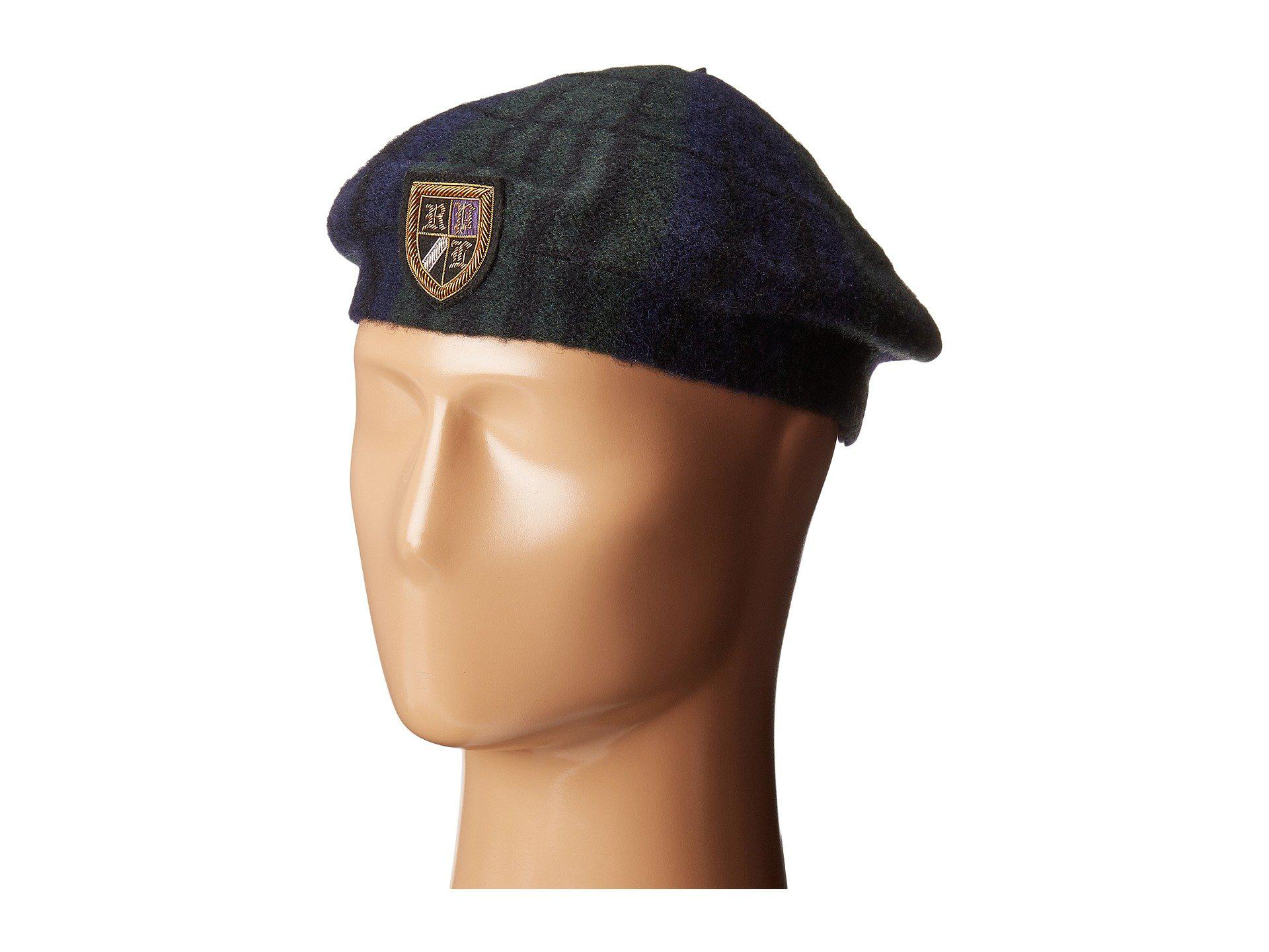 fd8a46a8e Polo Ralph Lauren Tartan Beret With Embroidery in Blue for Men - Lyst