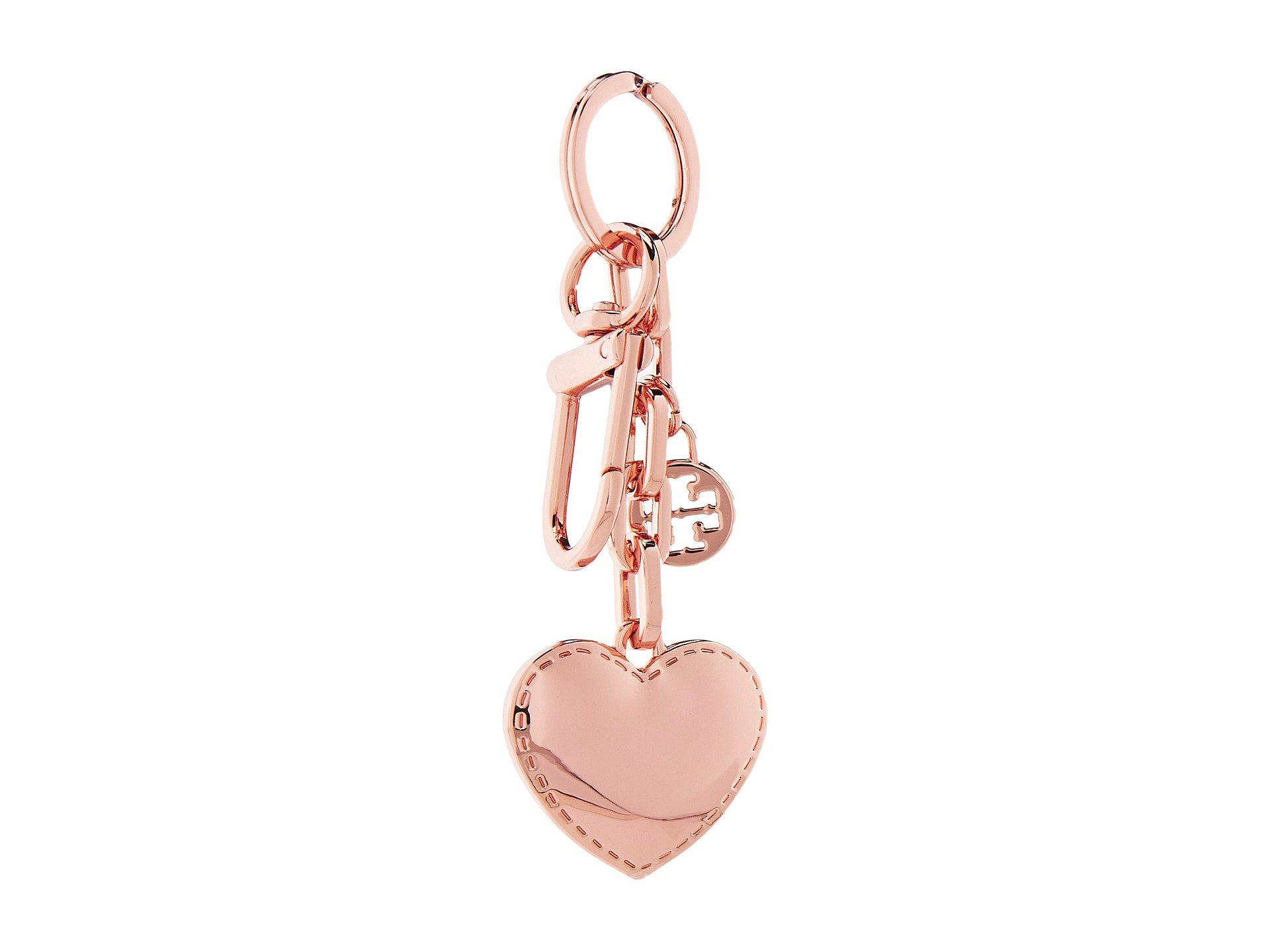 45972cc4929b Lyst - Tory Burch Logo   Heart Metal Key Fob in Pink