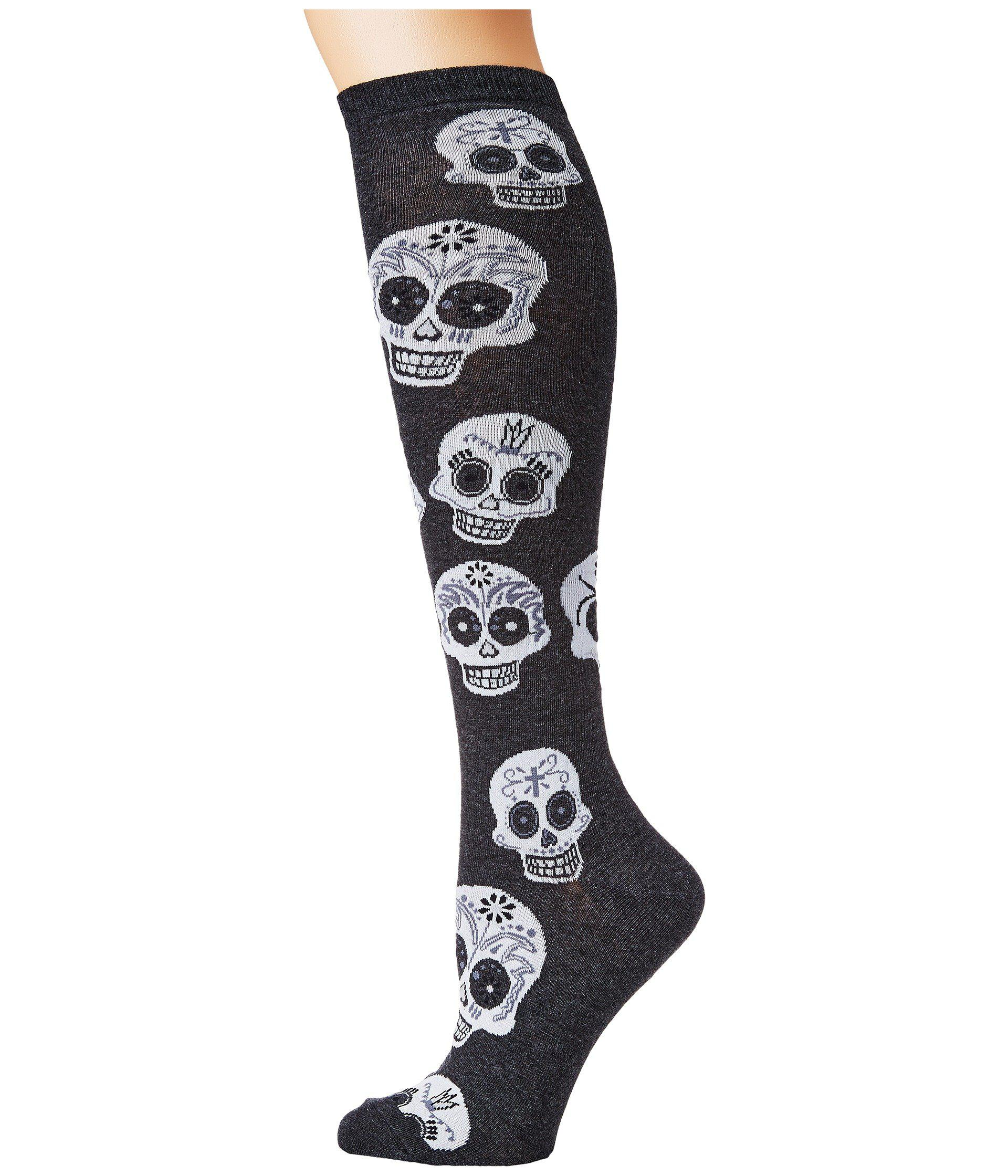 46b2344ed48 Socksmith Big Muertos Skull Knee High (charcoal Heather) Women s ...