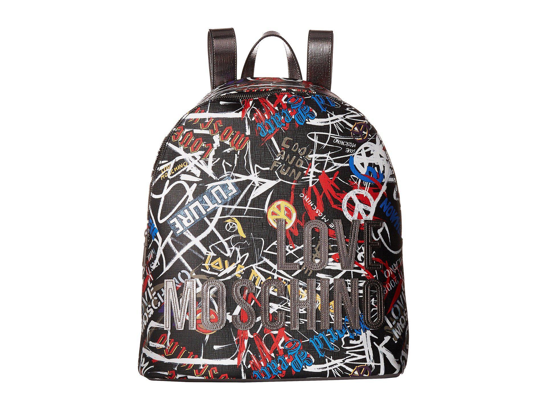 2407725723f Love Moschino Graffiti Print Backpack (black Digital Print) Backpack ...