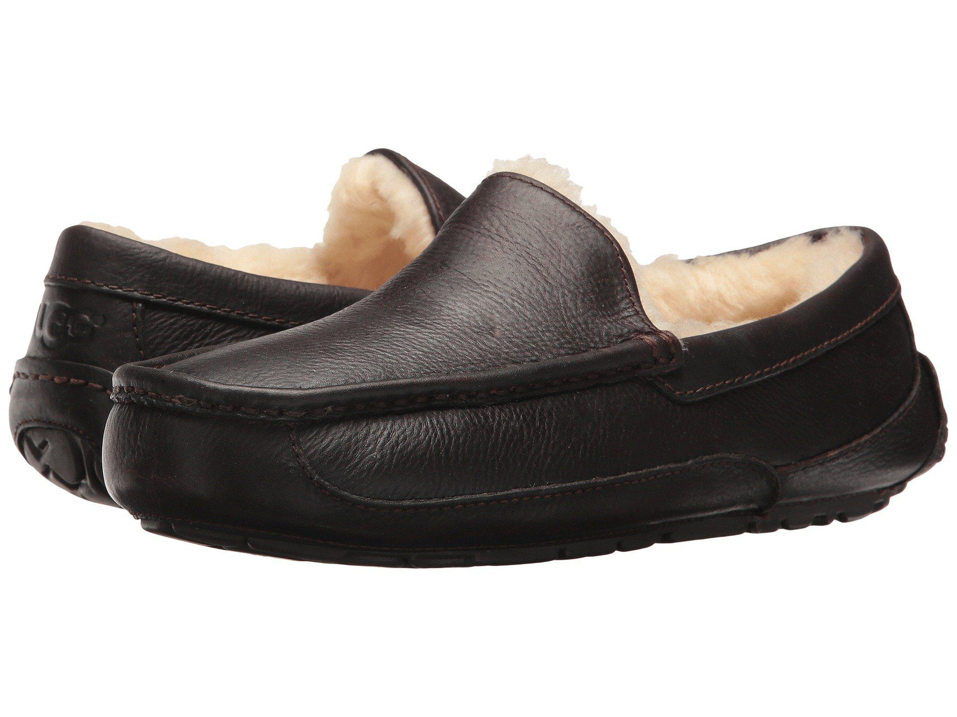 e2a44b1a2420 Lyst ugg ascot grain leather slippers in brown for men save jpg 1920x1440 Ugg  ascot china