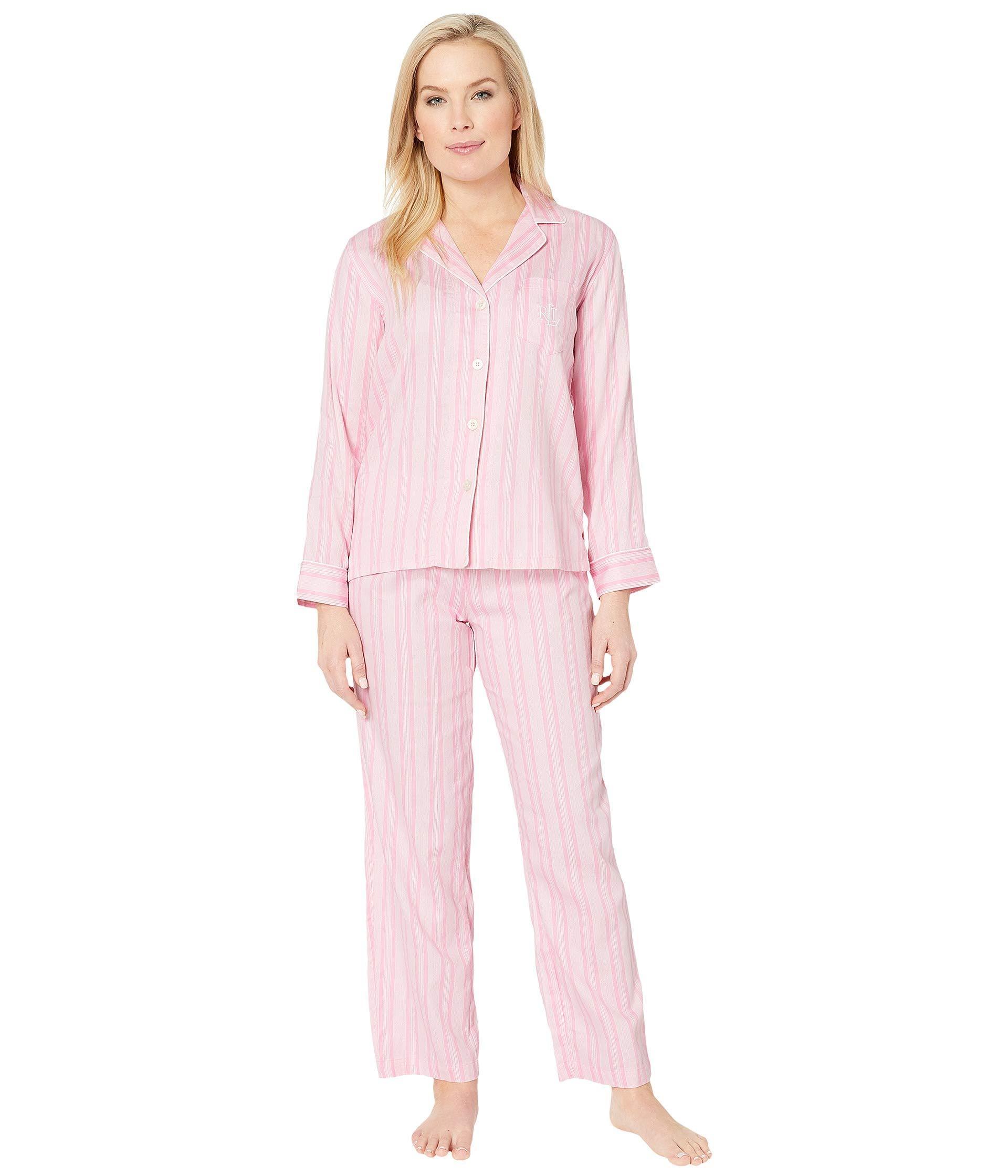 Lauren by Ralph Lauren. Petite Pointed Notch Collar Pajama Set (pink Paisley  Print) Women s ... e69d04754