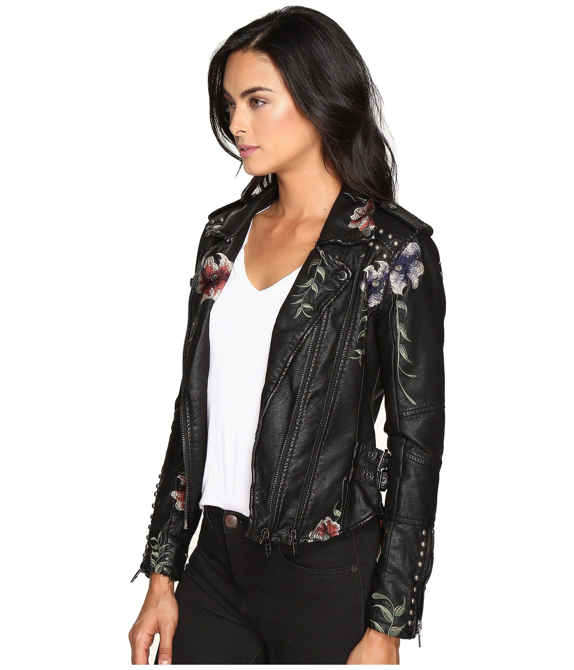 White Blank NYC Embroidered Floral Leather Jacket