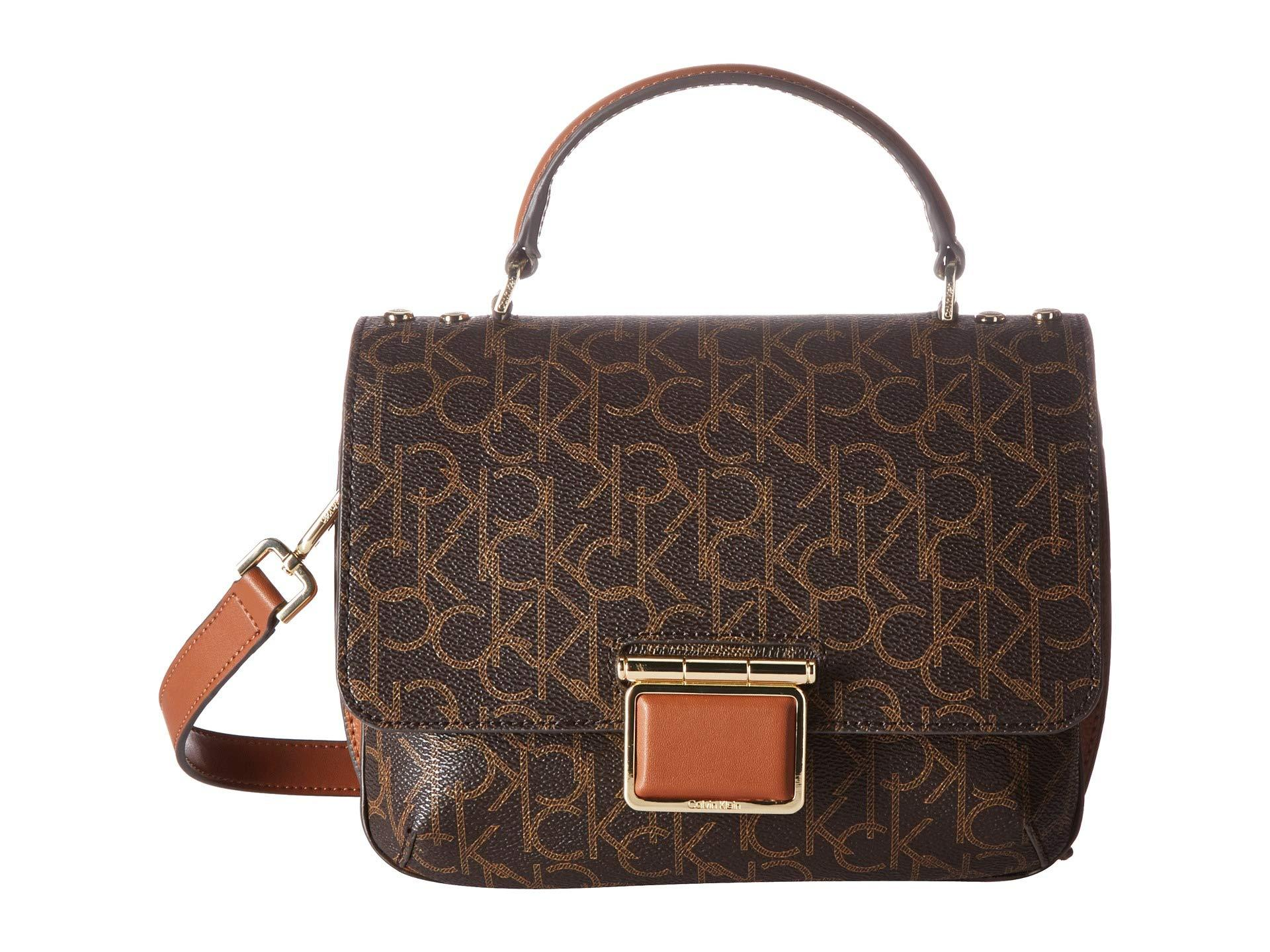 a2a582760e Lyst - Calvin Klein Dani Monogram Crossbody (Brown/Khaki/Luggage ...