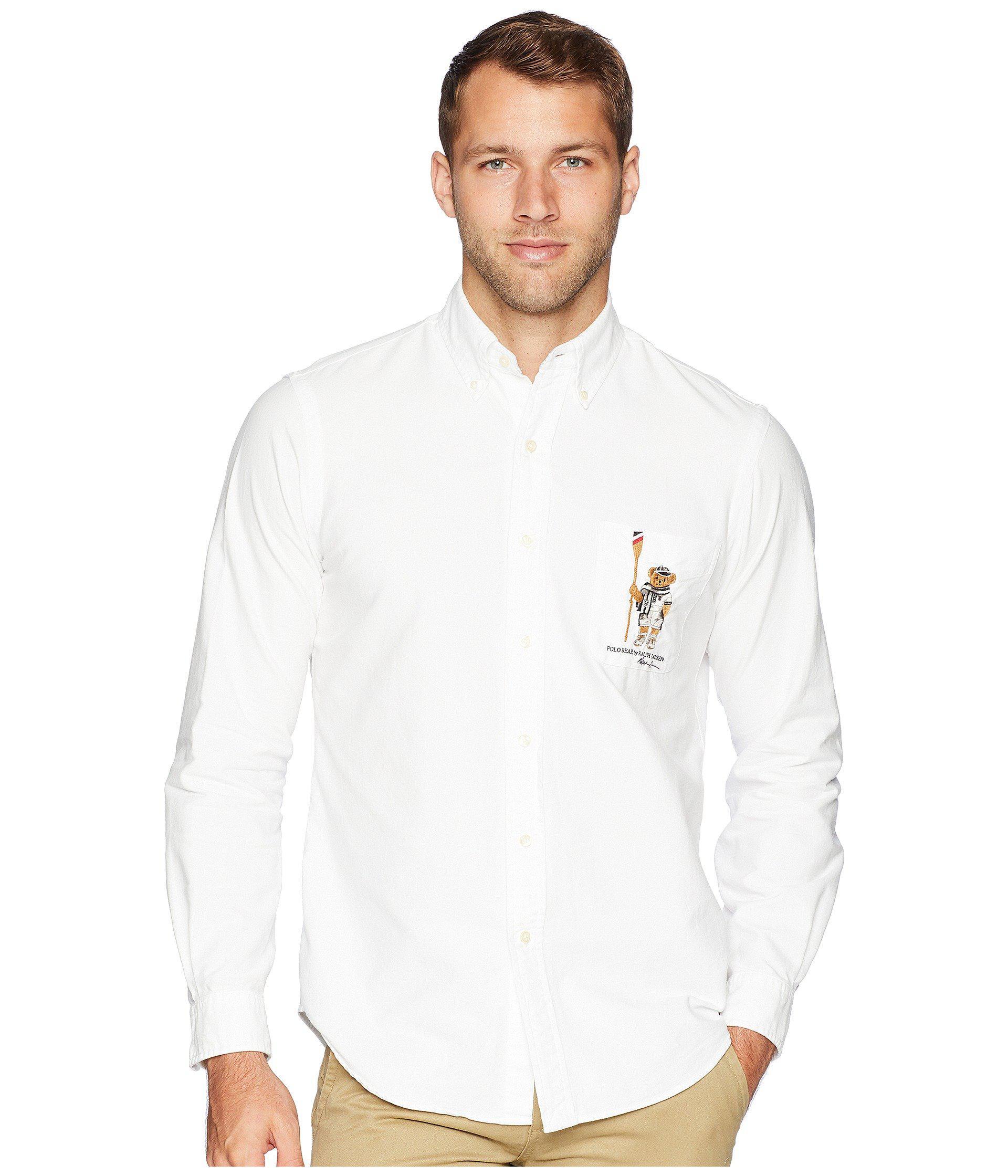 7dd28f498 Polo Ralph Lauren Oxford Bear Player Sport Shirt (white) Men s ...
