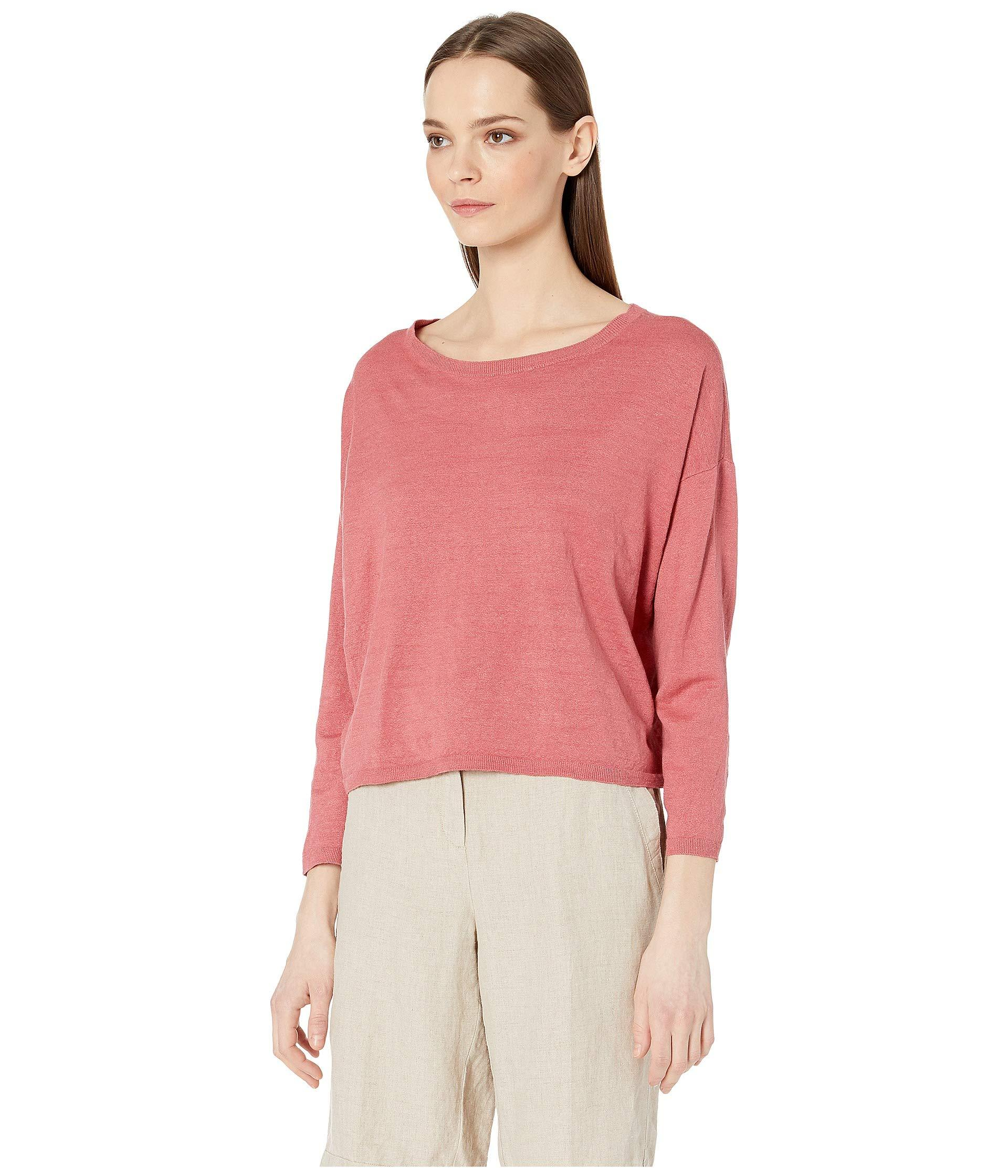 fc6de846657dc7 Lyst - Eileen Fisher Organic Linen Crepe Stretch Jewel Neck Box-top (black)  Women s Clothing in Pink
