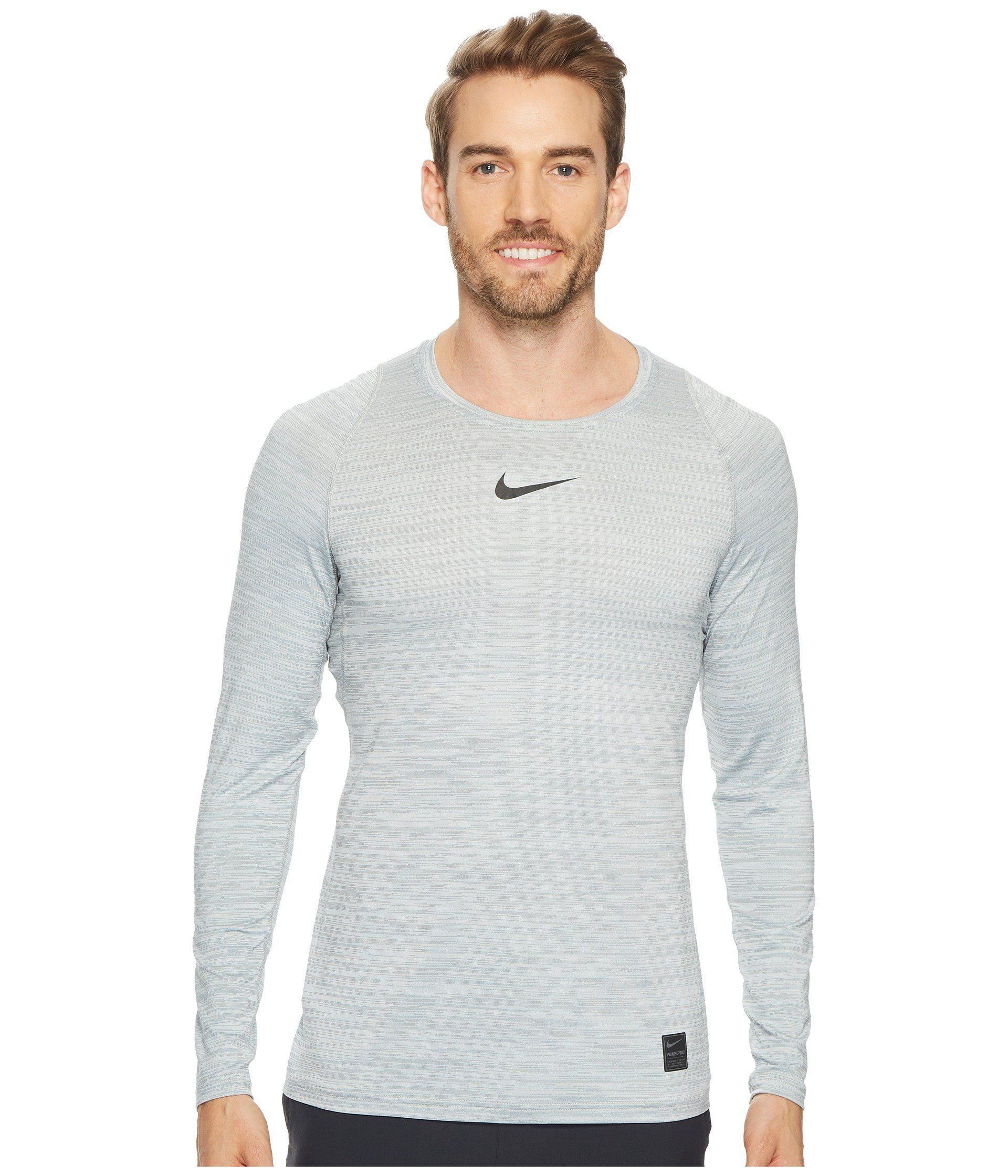 cc4bfd4de7442 Lyst - Nike Pro Heathered Long Sleeve Training Top (black cool Grey ...