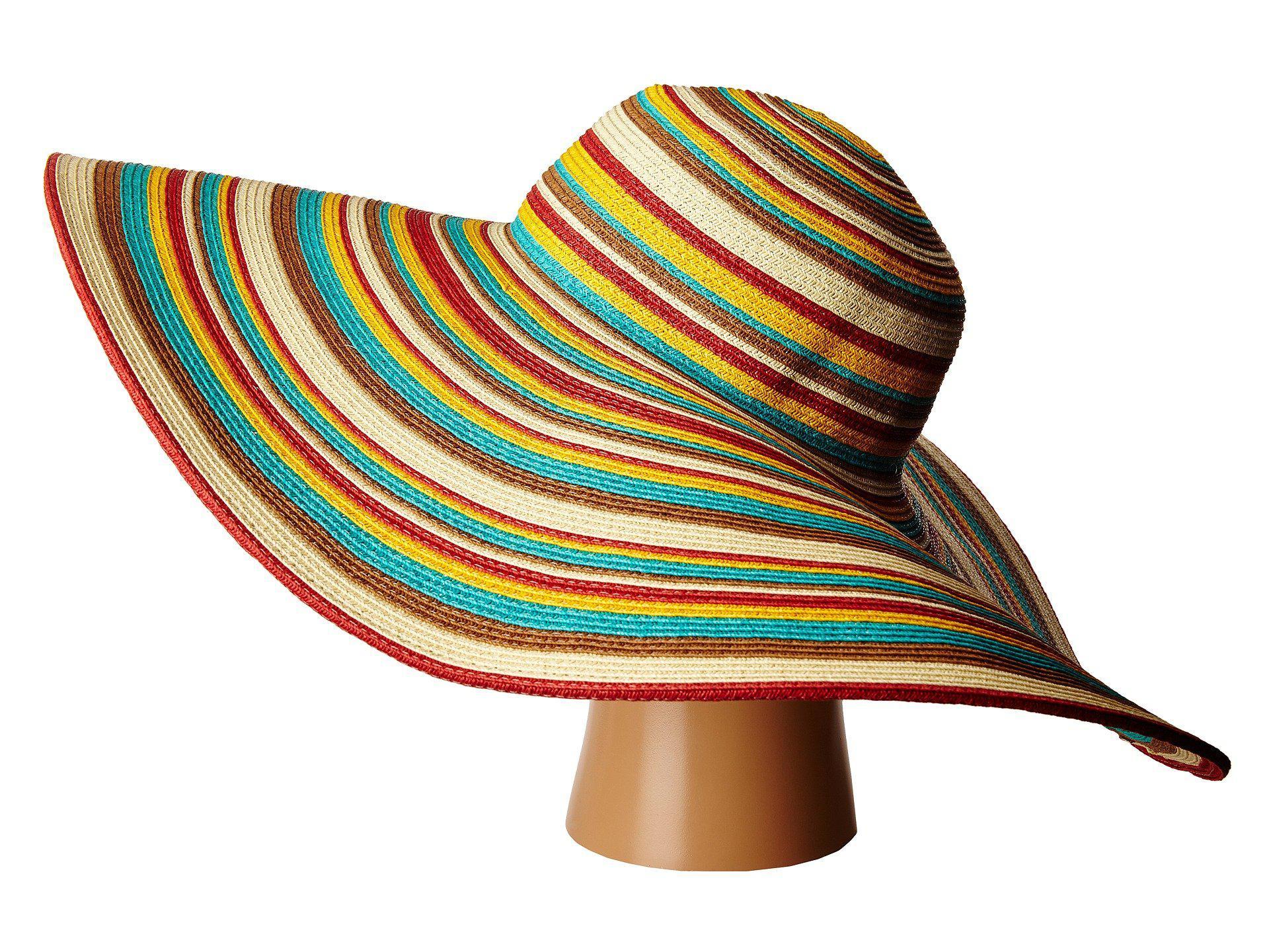 027242f9b8b02 San Diego Hat Company - Brown Ubx2721 Striped Floppy 8 Inch Brim Sun Hat  (multi. View fullscreen