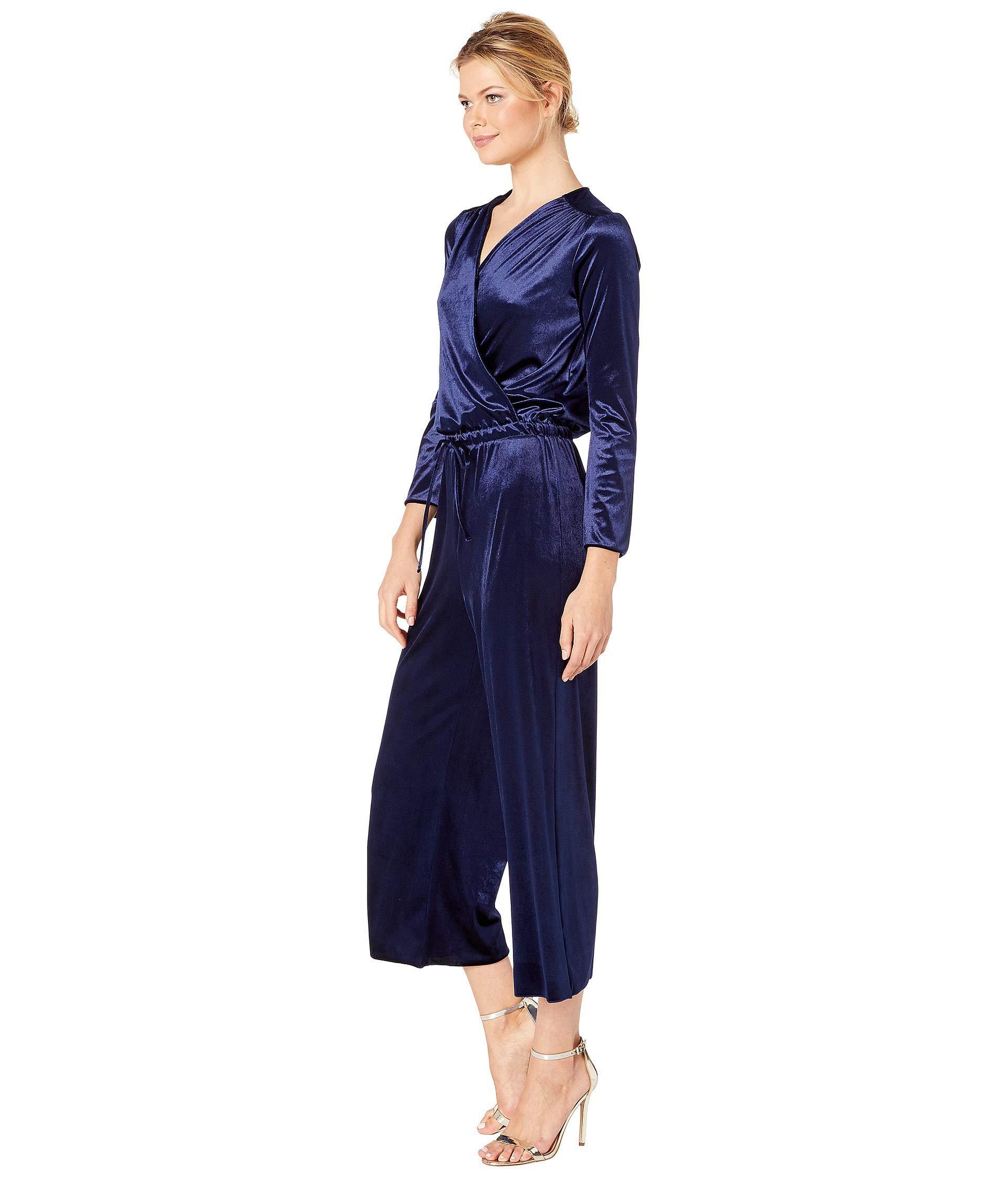 97c55323bd49 Lyst - Three Dots Stretch Panne Velvet Jumpsuit (navy) Women s Jumpsuit   Rompers  One Piece in Blue