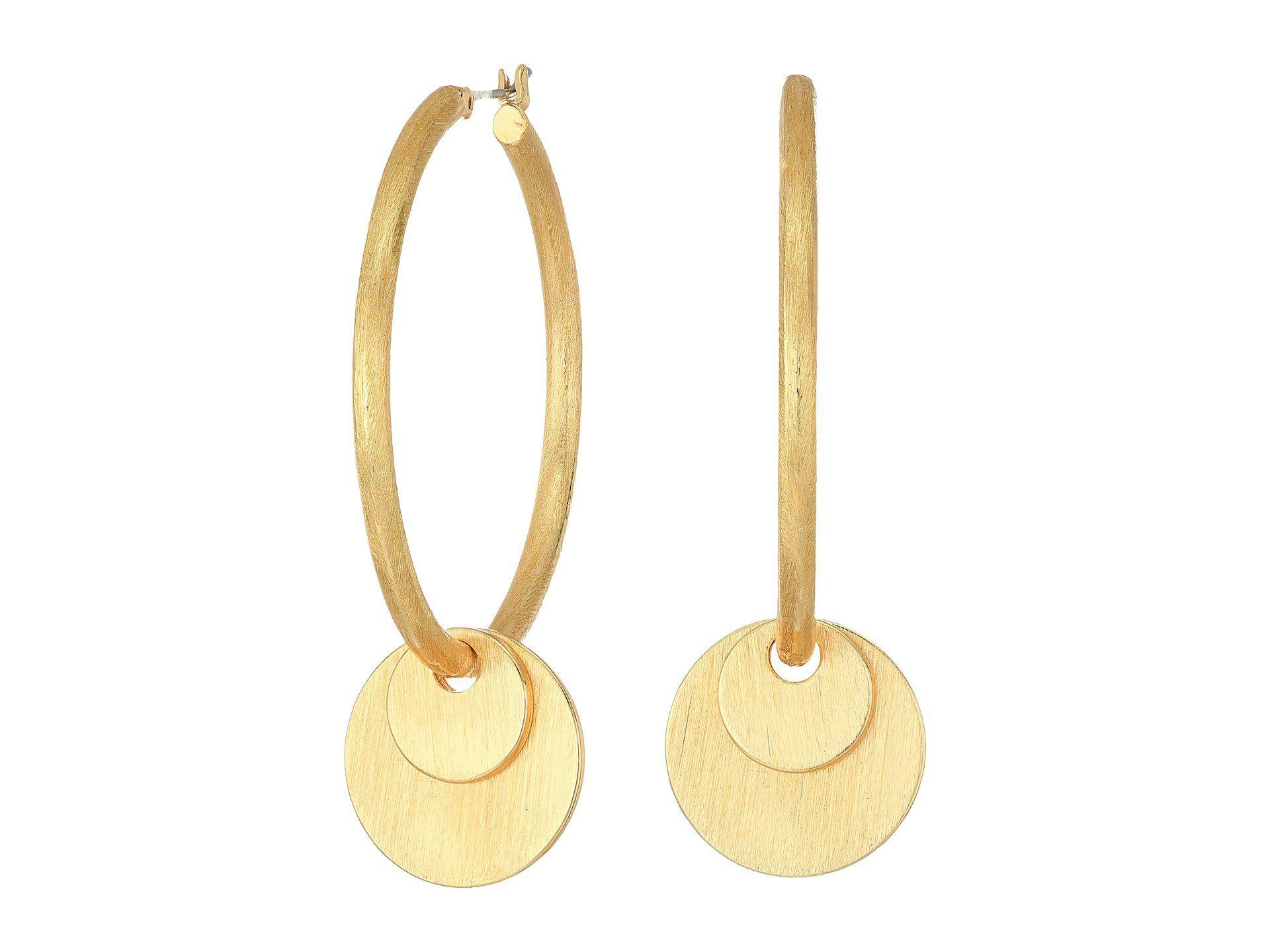 Rebecca Minkoff Women S Metallic Medallion Hoop Earrings Gold Earring