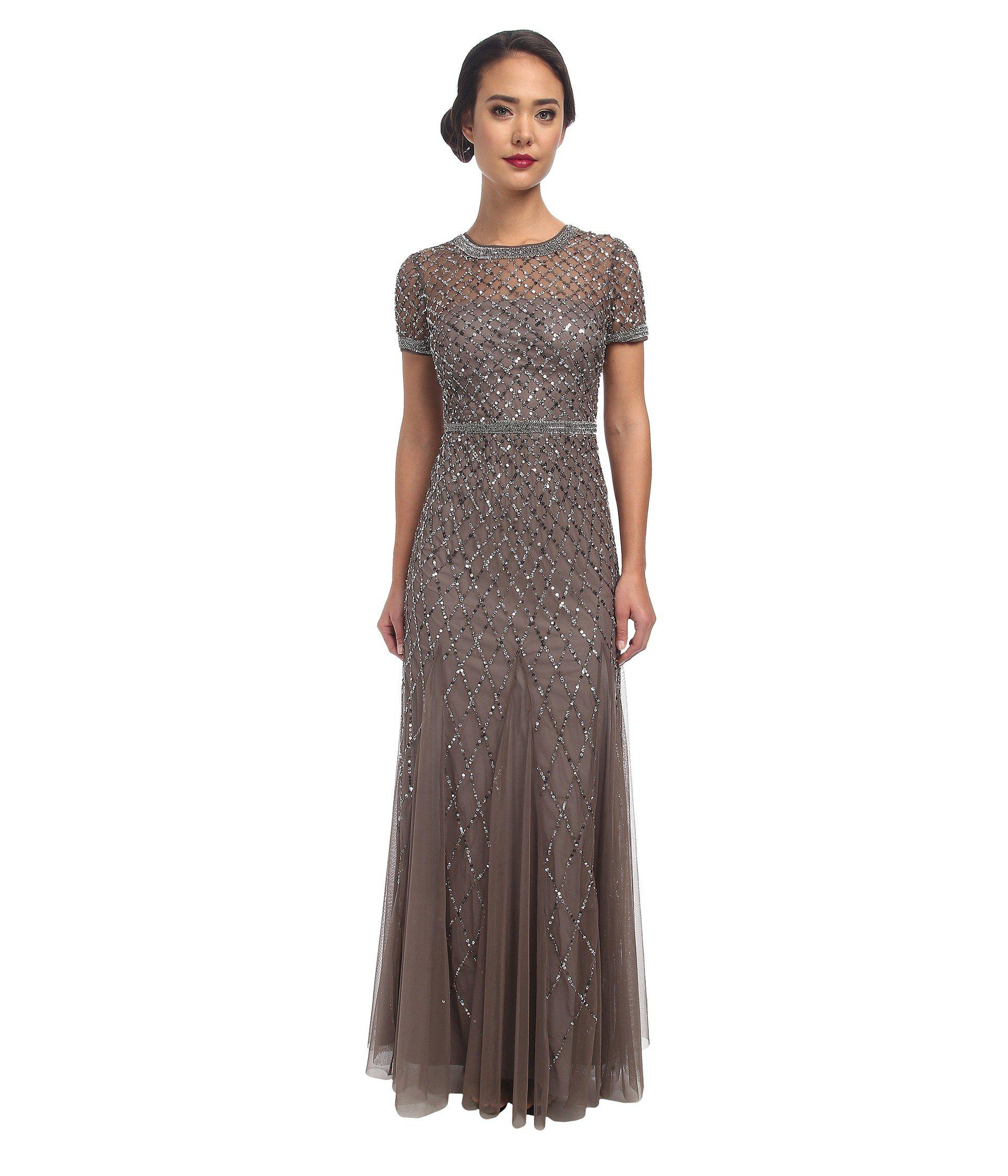 Lyst - Adrianna Papell Cap Sleeve Fully Beaded Gown (lead) Women\'s ...