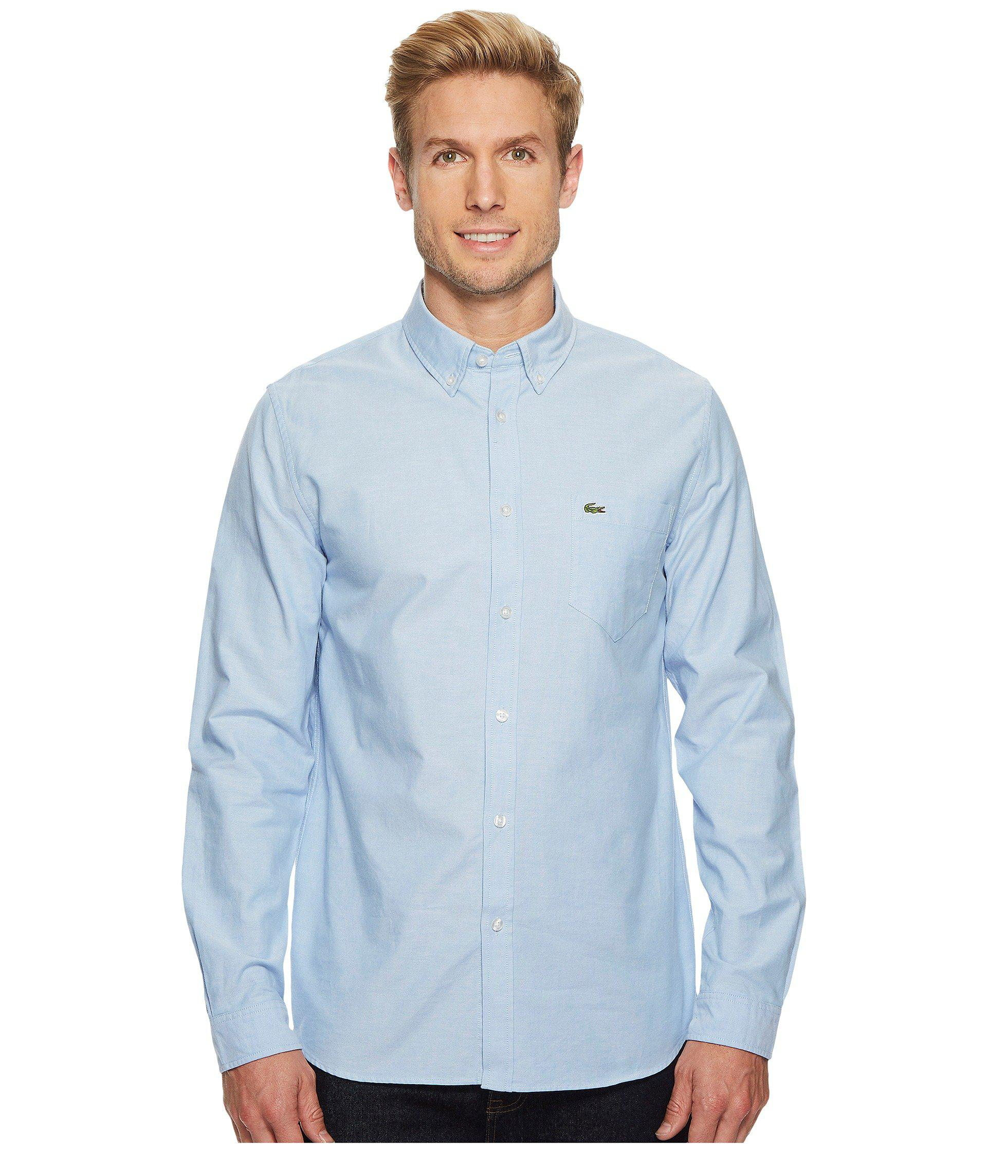55bb208a0 Lyst - Lacoste Long Sleeve Oxford Button Down Collar Regular ...