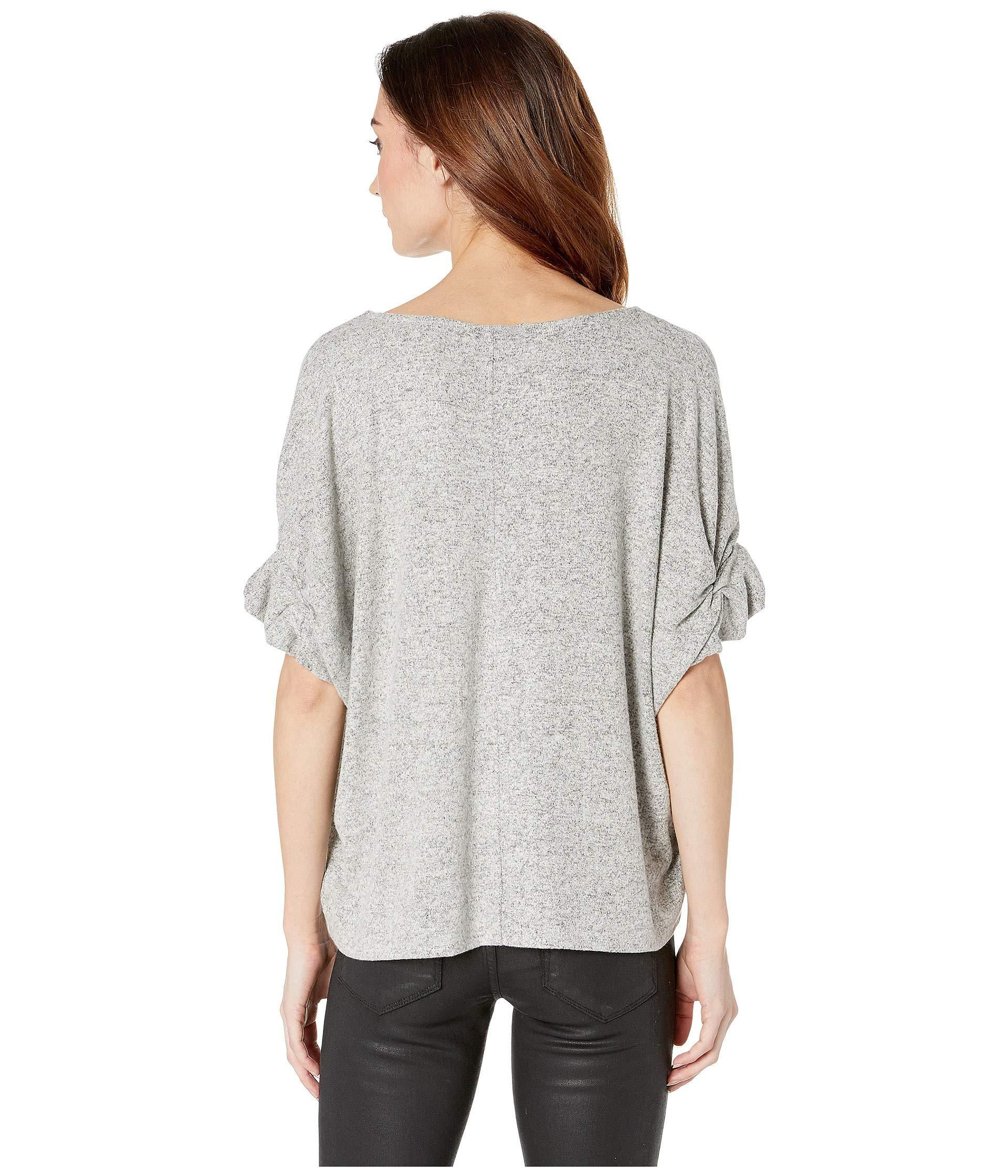 cf87ea41a B Collection By Bobeau - Gray Laney Roll Sleeve Tee (heather Grey) Women's T.  View fullscreen