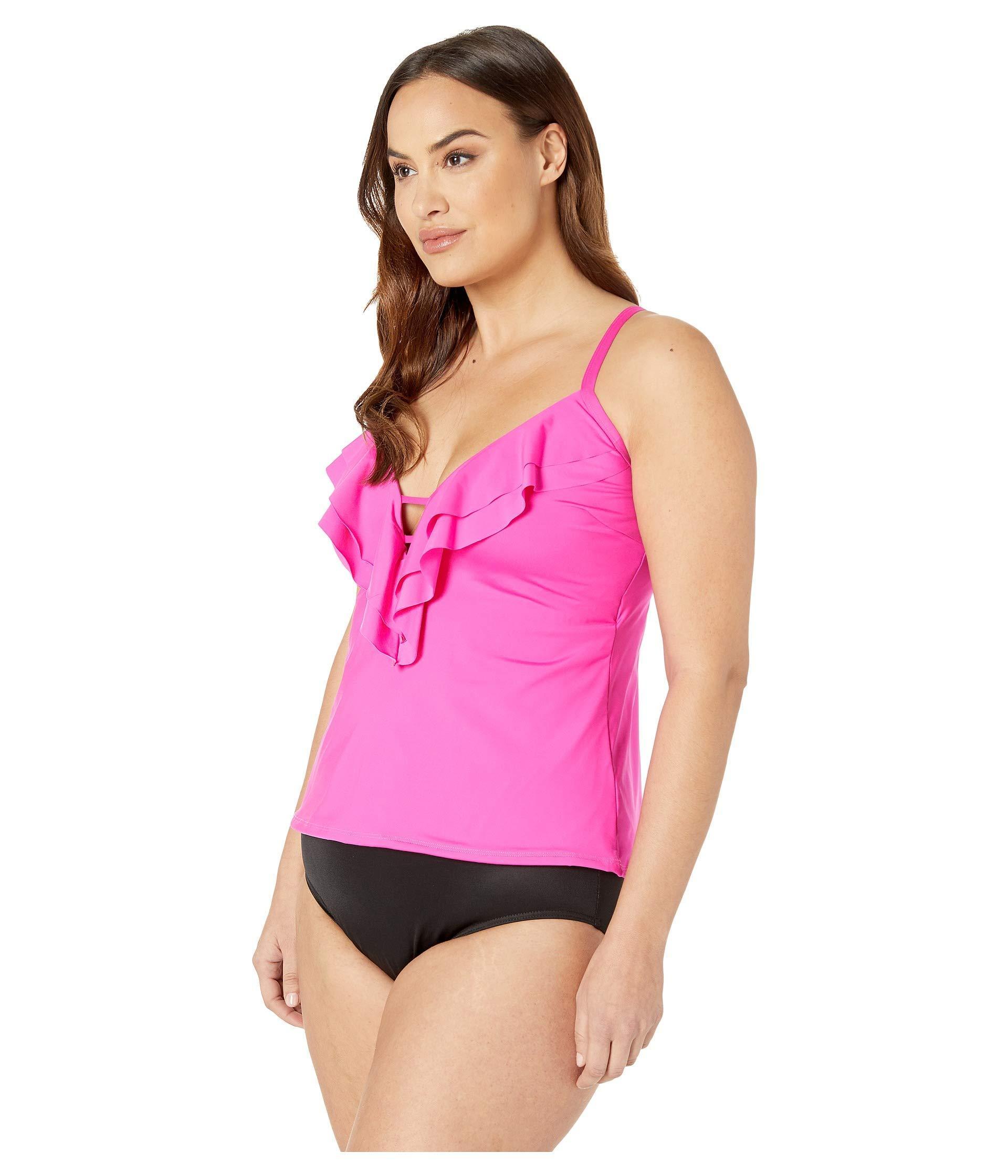 e3fb6d8aa5f Lyst - Kenneth Cole Plus Size Ruffle-licious Ruffle Tankini (black) Women s  Swimwear in Pink