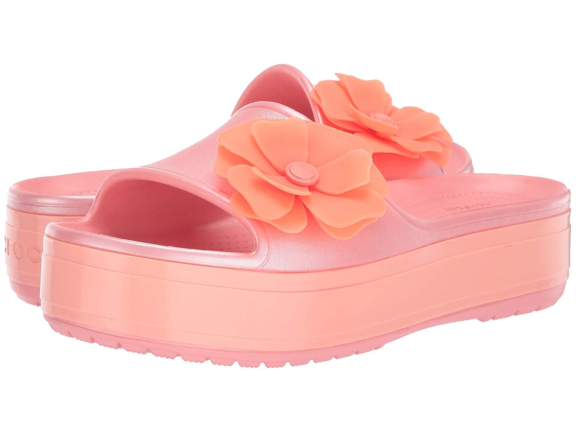 e58dda021 Crocs™. Women s Pink Crocband Platform Vivid Blooms Slide (melon) Slide  Shoes