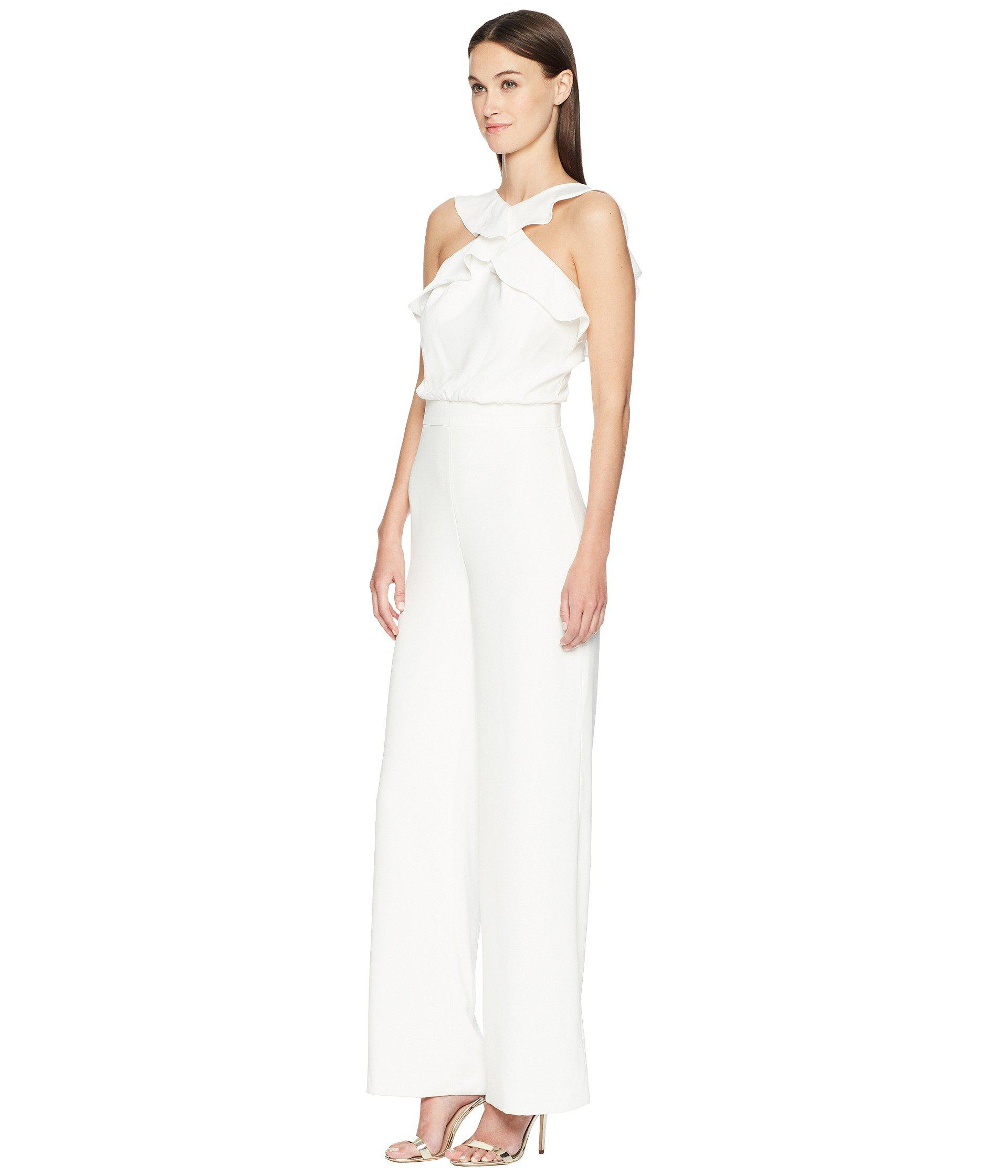 21ced76a254 Lyst - ML Monique Lhuillier Sleeveless Ruffle Jumpsuit (white ...