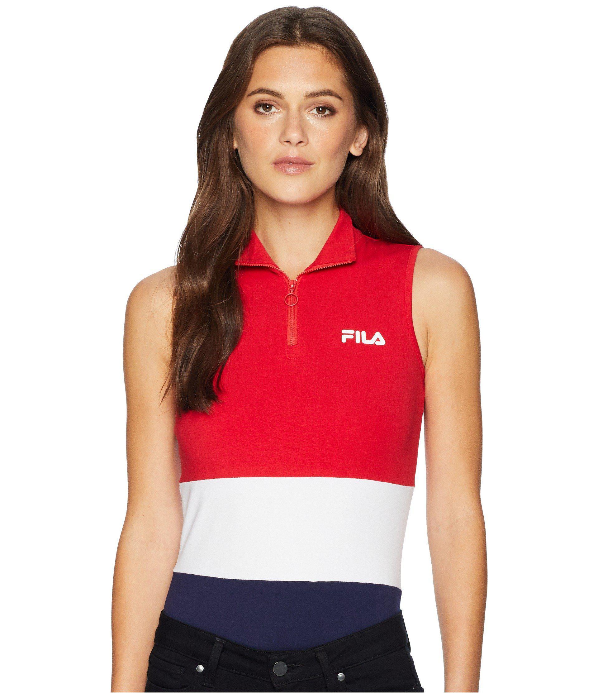 c88f0c76790 Fila. Bianca Bodysuit (skyway navy rio Red) Women s Jumpsuit   Rompers One  Piece