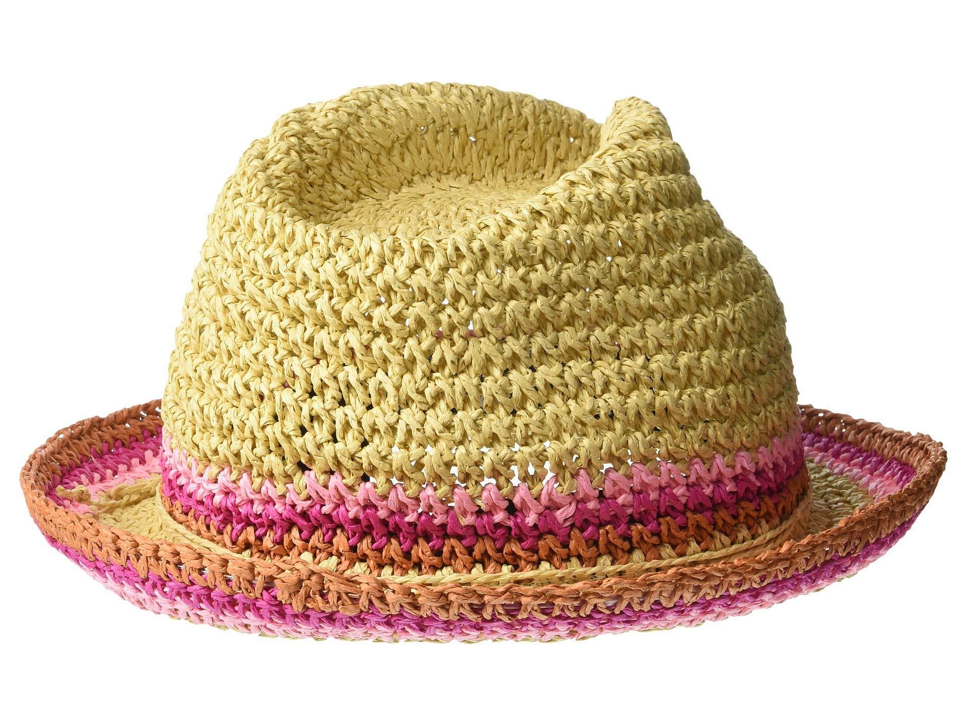 a57e5f3eae16e4 ... Raffia Crochet Straw Striped Fedora (black) Fedora Hats - Lyst. View  fullscreen