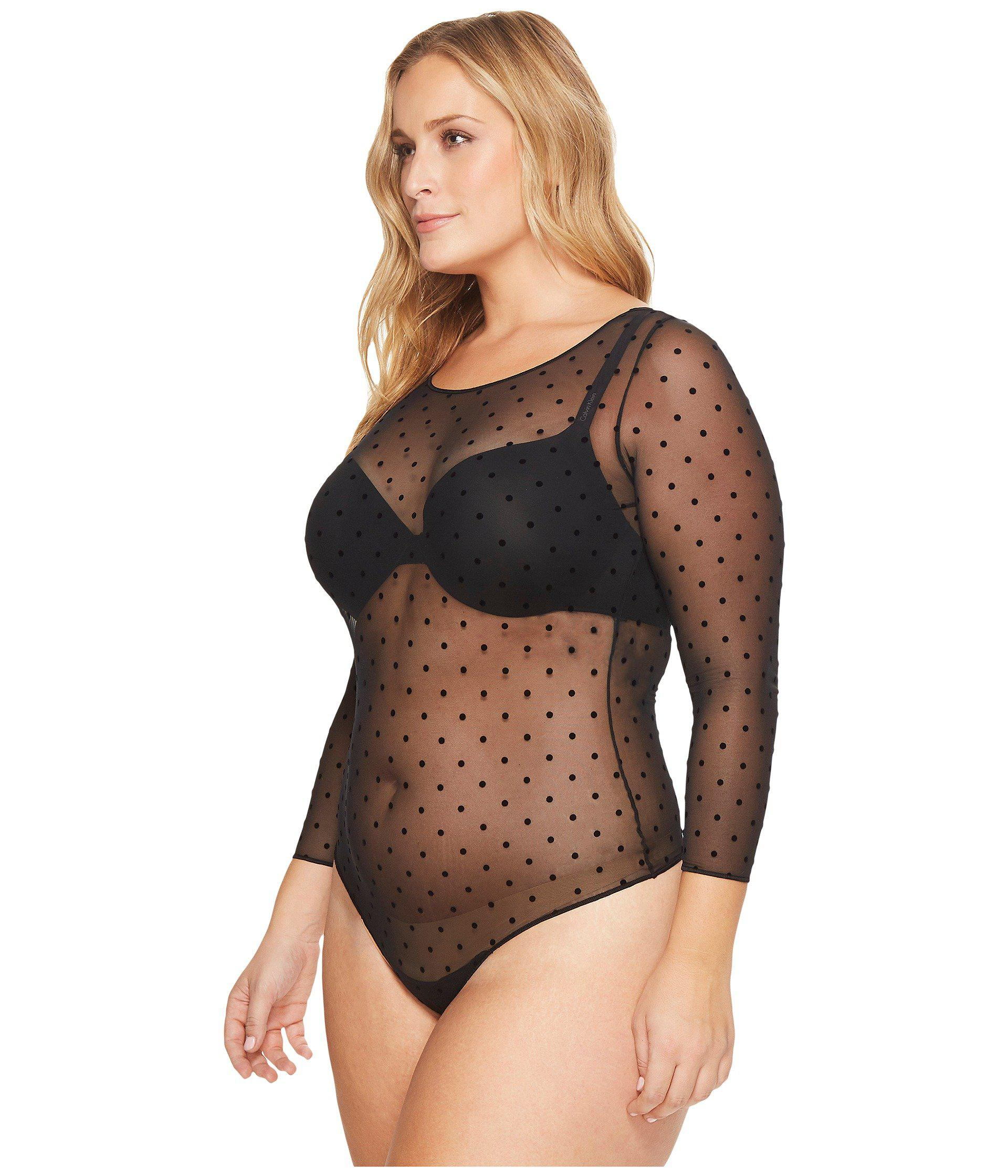 887ba5a2952 Spanx Plus Size Sheer Fashion Mesh Thong Bodysuit (very Black) Women s  Jumpsuit   Rompers One Piece - Lyst