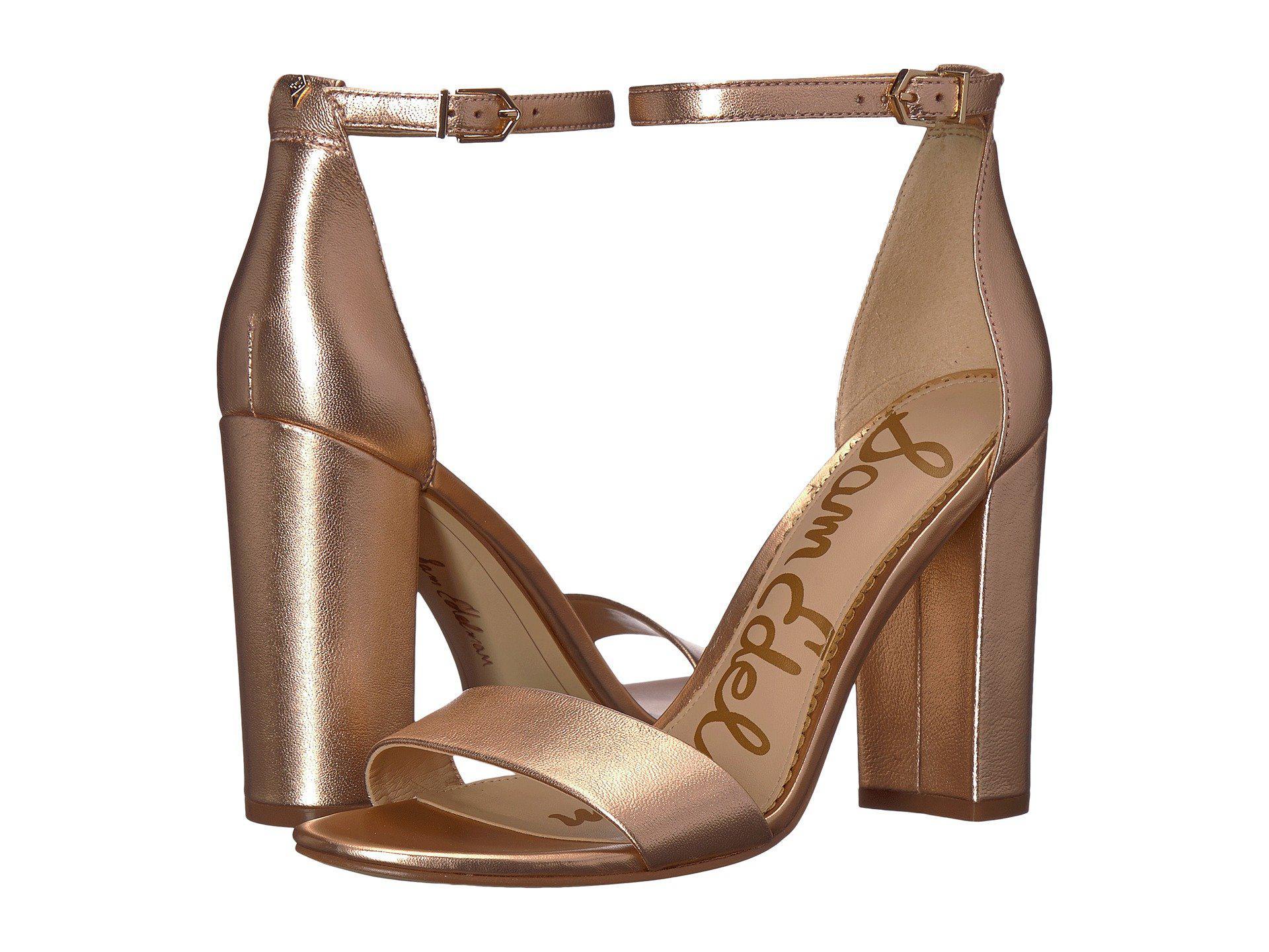 9bfce527371a Lyst - Sam Edelman Yaro Ankle Strap Sandal Heel (silver) Women s ...