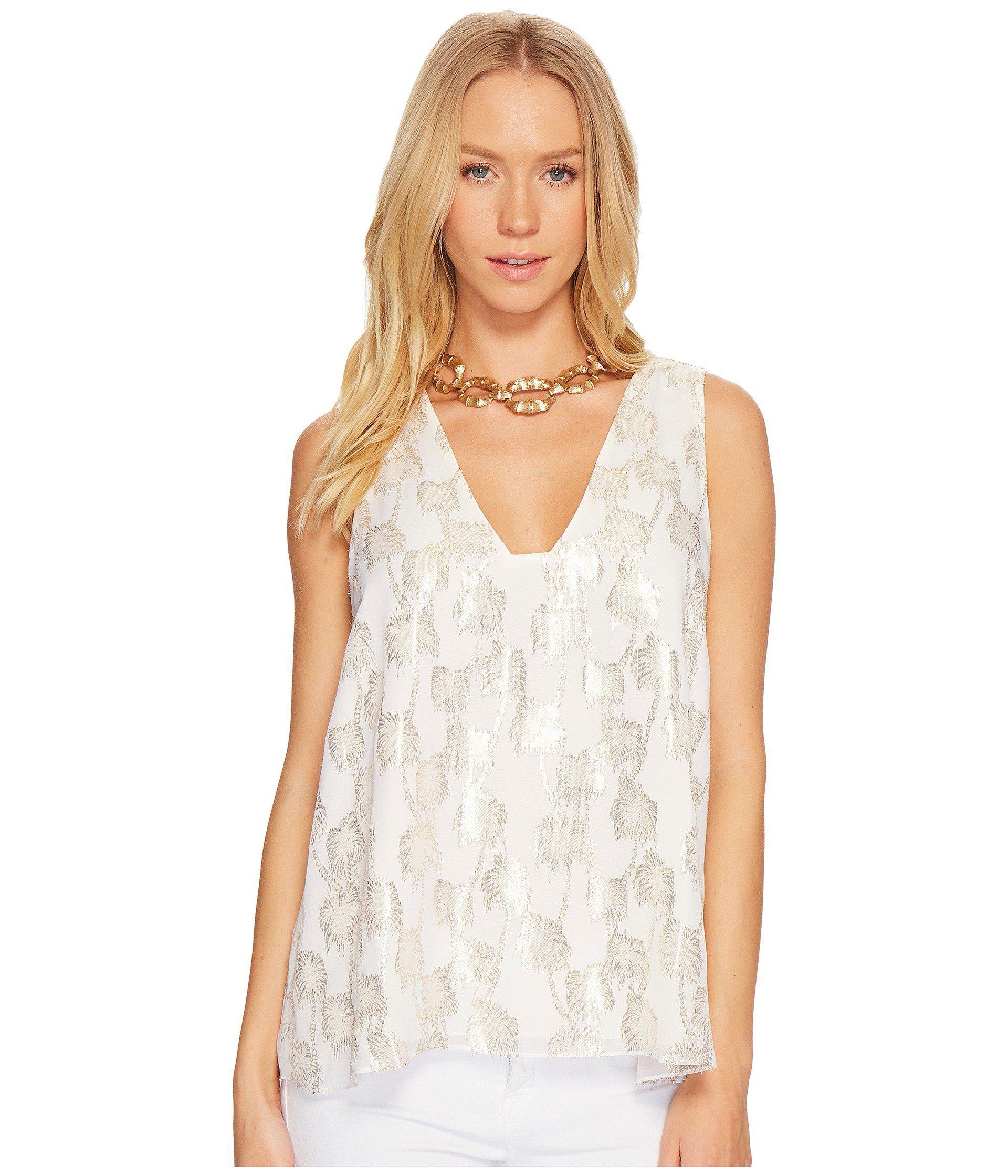 4b1b688fa67dd Lyst - Lilly Pulitzer Owen Silk Clip Top (resort White Metallic Palm ...