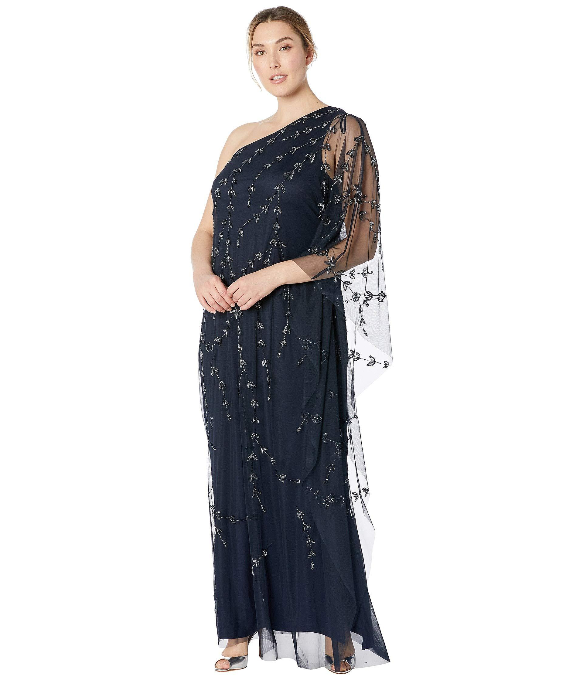 5cfa74c1a35 Lyst - Adrianna Papell Plus Size One Shoulder Beaded Kaftan Evening ...