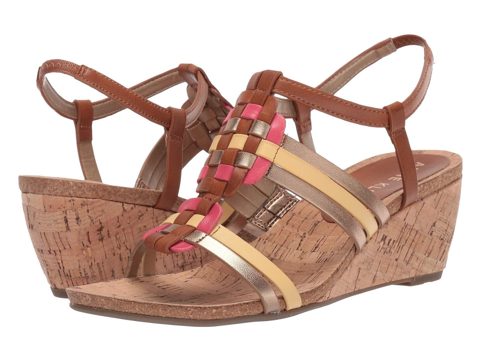 17daa00ba1d Lyst - Anne Klein Tilly Wedge Sandal (black Fabric) Women s Shoes