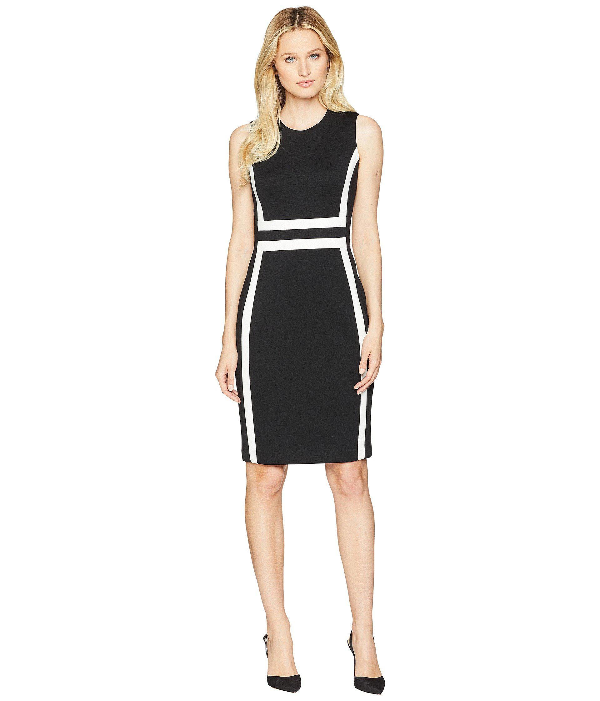 Lyst Calvin Klein Color Block Scuba Sheath Dress Cd8m1v5k Black