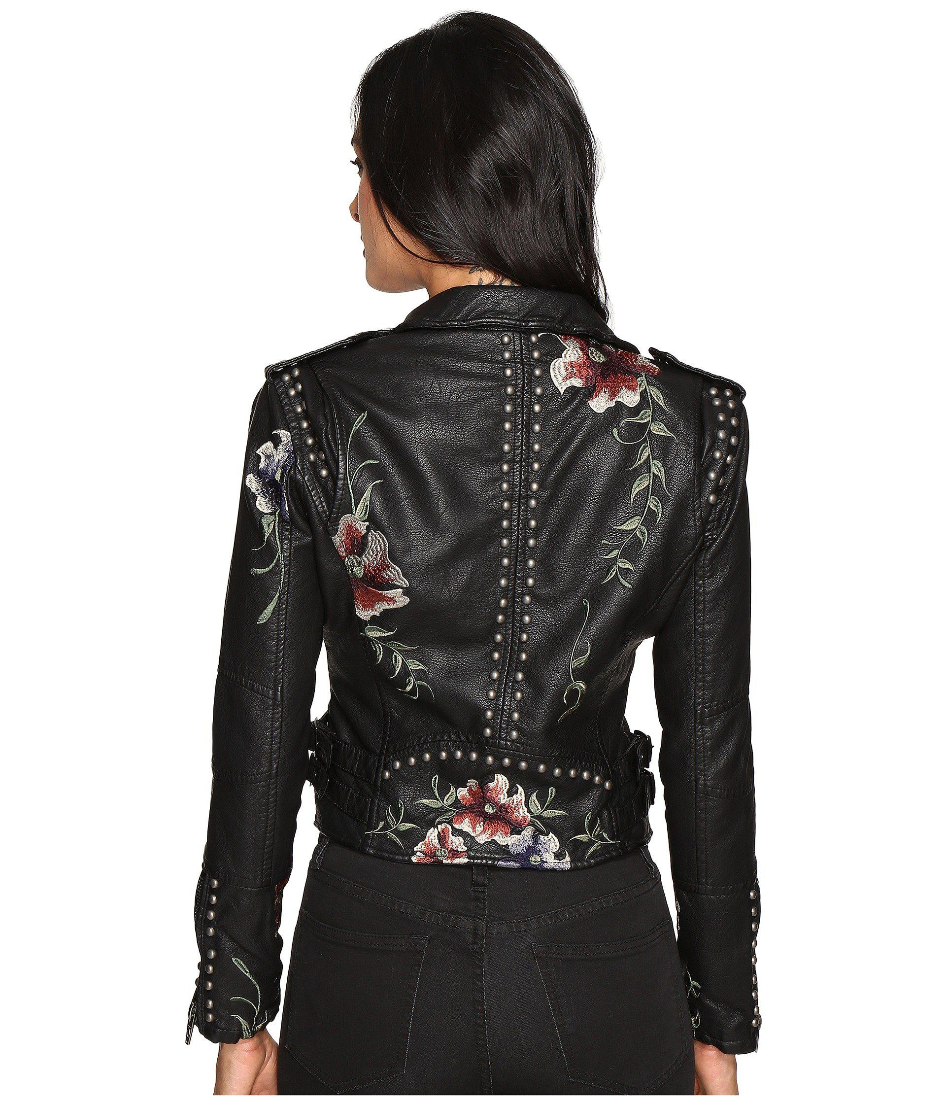 Blank NYC - Natural Embroidered Floral Detail Studded Moto Jacket - Lyst.  View Fullscreen