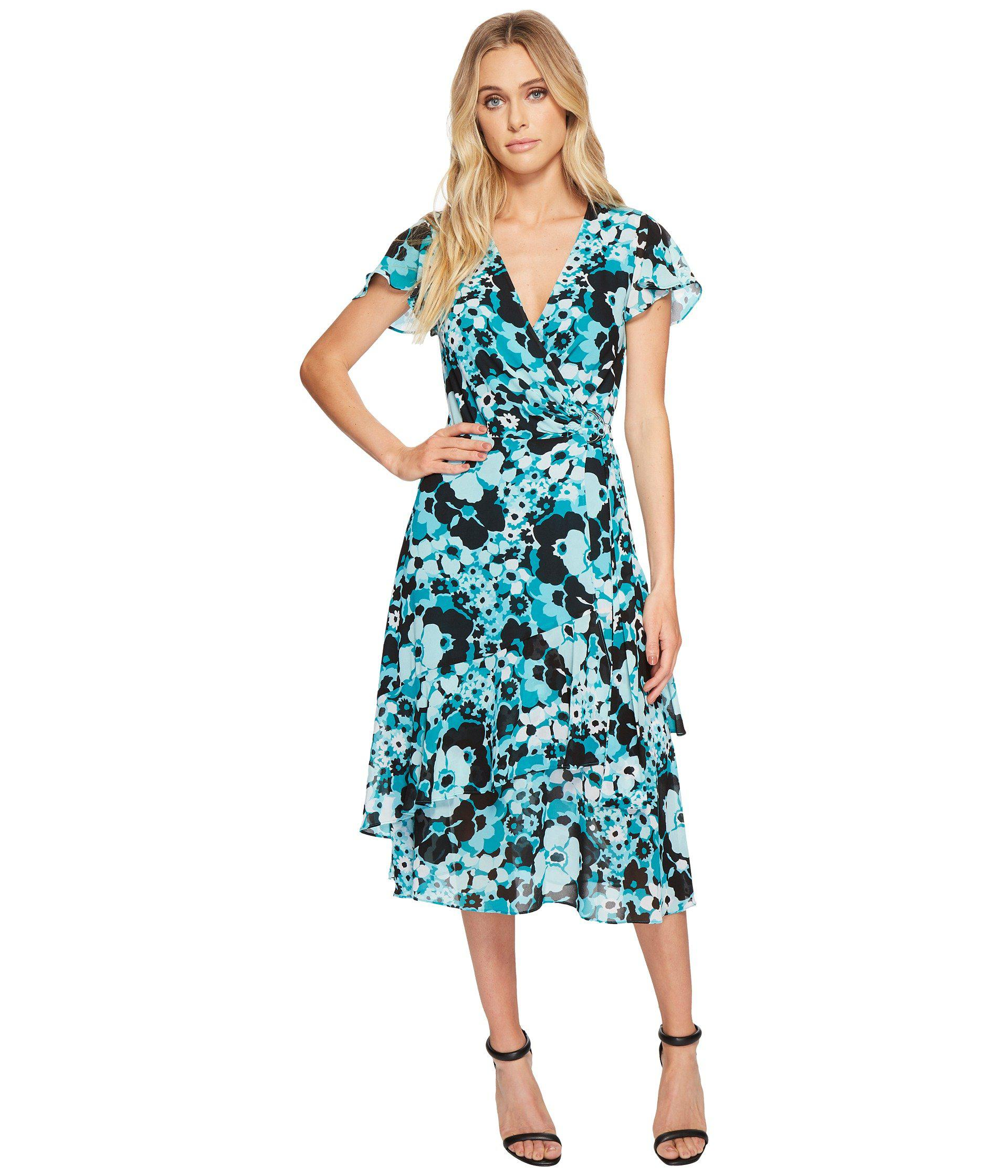 9ee7a63c2095 MICHAEL Michael Kors - Springtime Wrap Dress (tile Blue black Multi) Women s  Dress