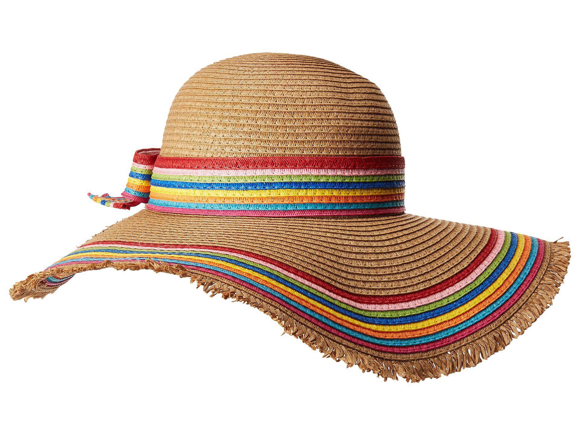 Lyst - Betsey Johnson Rainbow Raw Edge Floppy Hat (tan) Caps 6e0d31e05af3