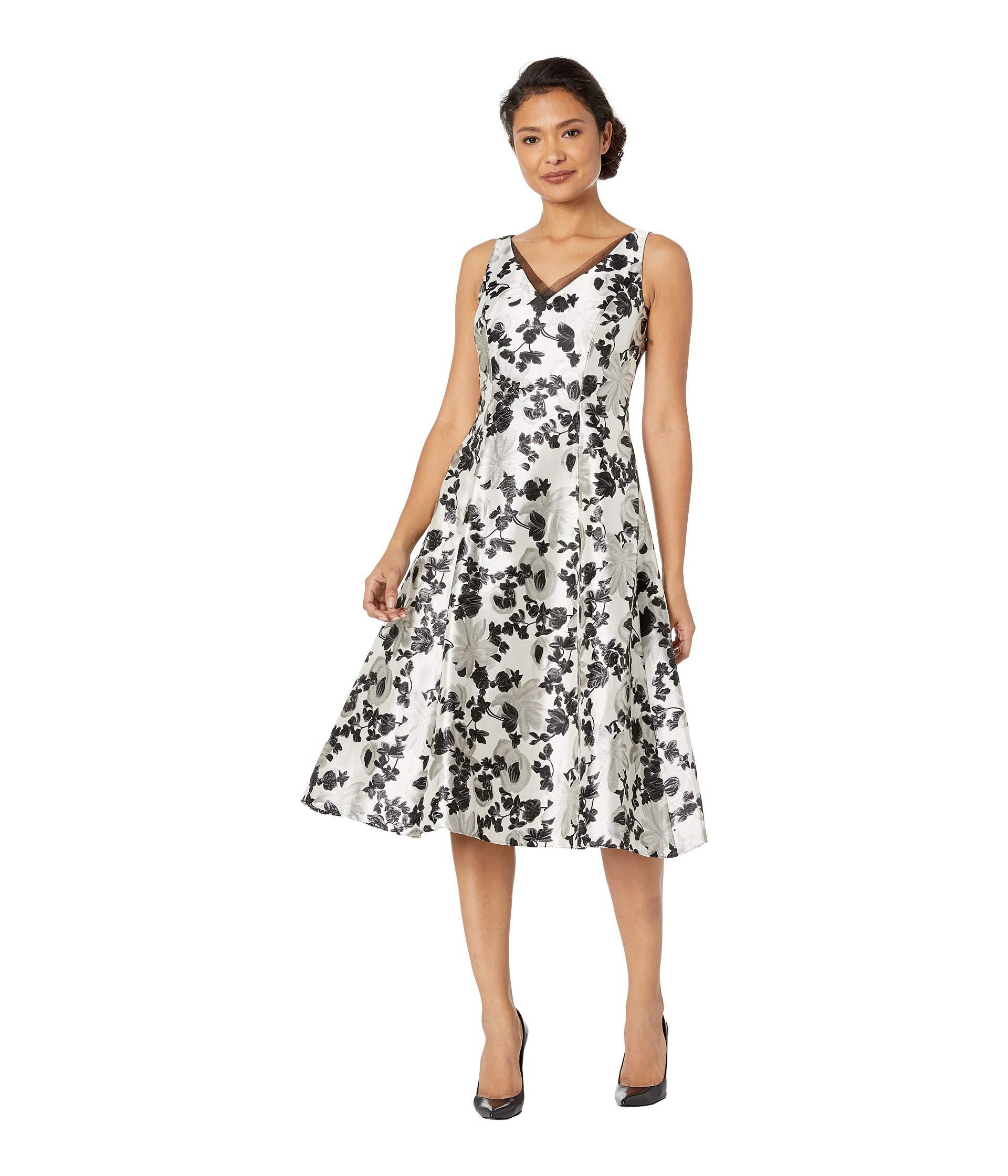 27083486bec7 Adrianna Papell Floral Metallic Jacquard Tea-length Dress (white ...